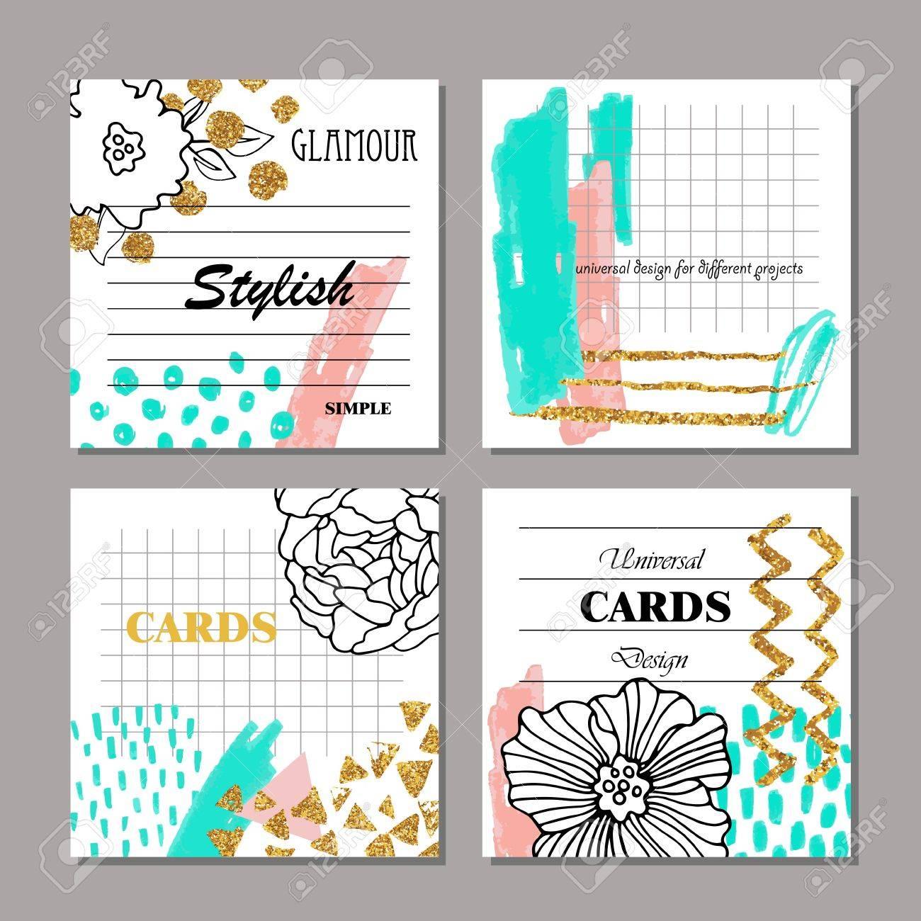 Set Von Hand Gezeichnet Kreative Universalkarten, Plakate, Broschüren,  Flyer. Hochzeit, Jubiläum
