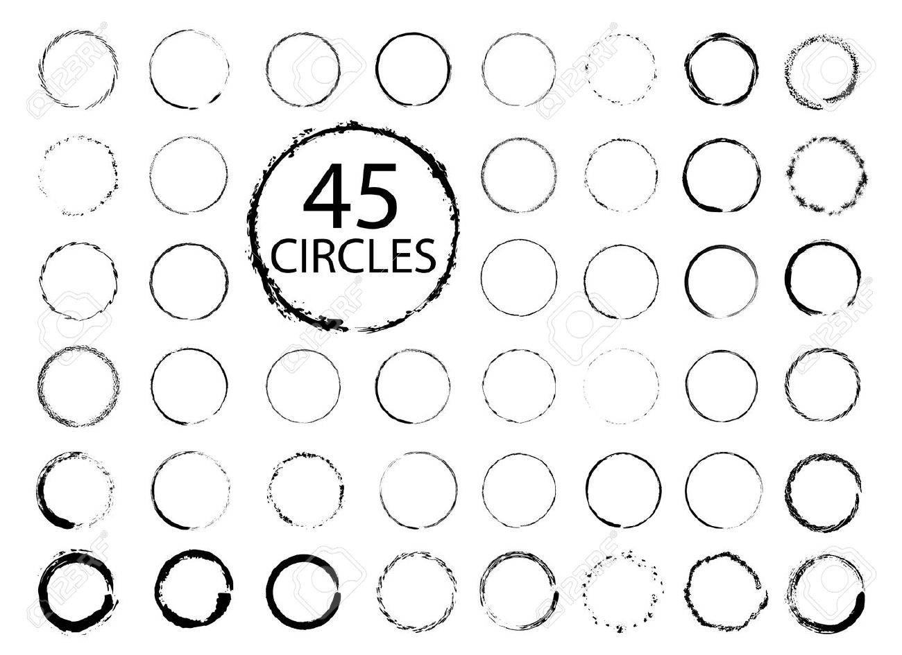 Big collection of hand drawn circles. Vector grunge design elements. - 64691919