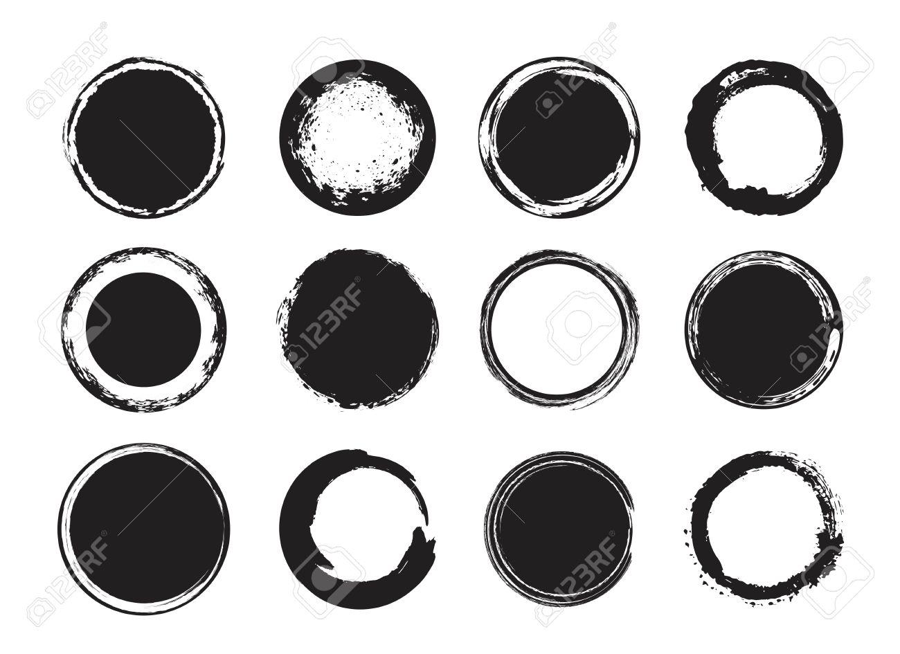 Artistic creative painted circle, label, branding. Black enso zen round. Vector illustration. - 64691951