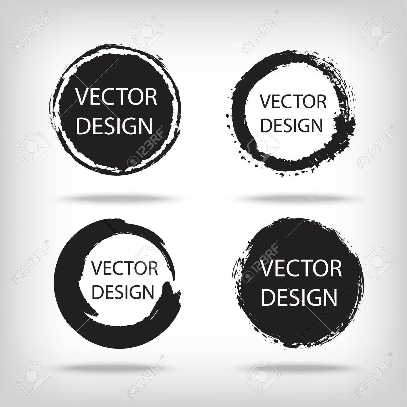 Artistic creative painted circle for label, branding. Black enso zen round. Vector illustration. - 64691969