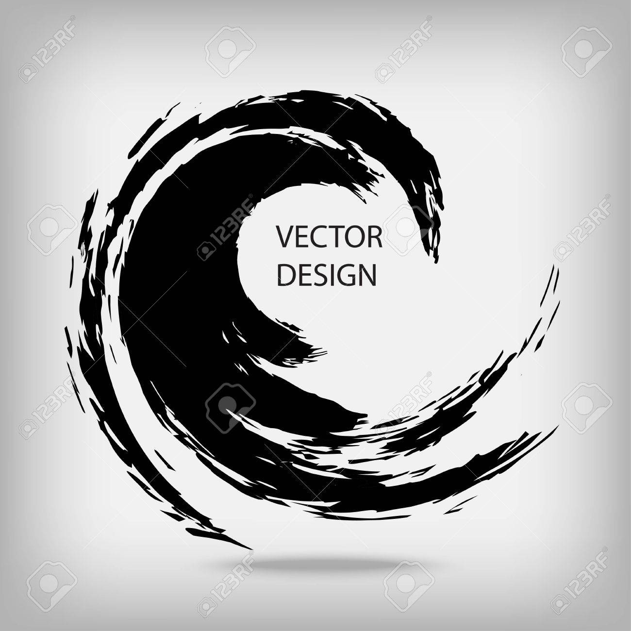 Hand drawn circle shape. Circular label, design element, frame. Brush abstract wave. Black enso zen symbol. Vector illustration. Place for text. - 64692069