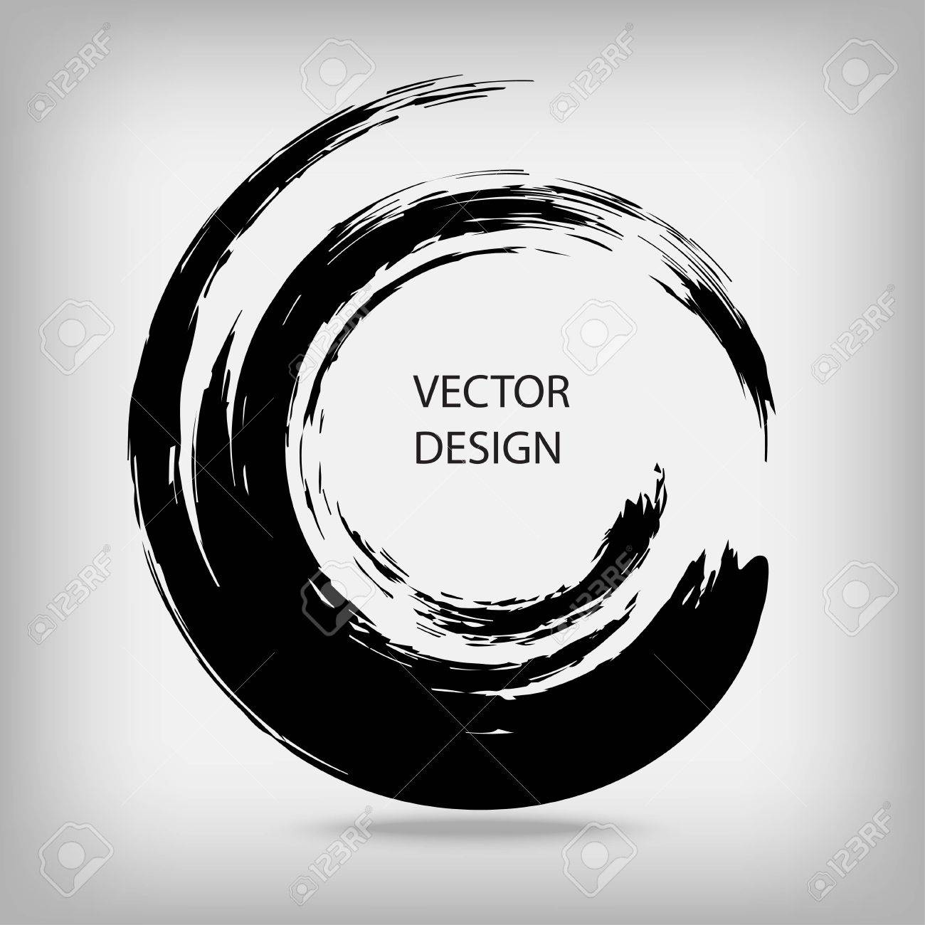 Hand drawn circle shape. Circular label, design element, frame. Brush abstract wave. Black enso zen symbol. Vector illustration. Place for text. - 64692129
