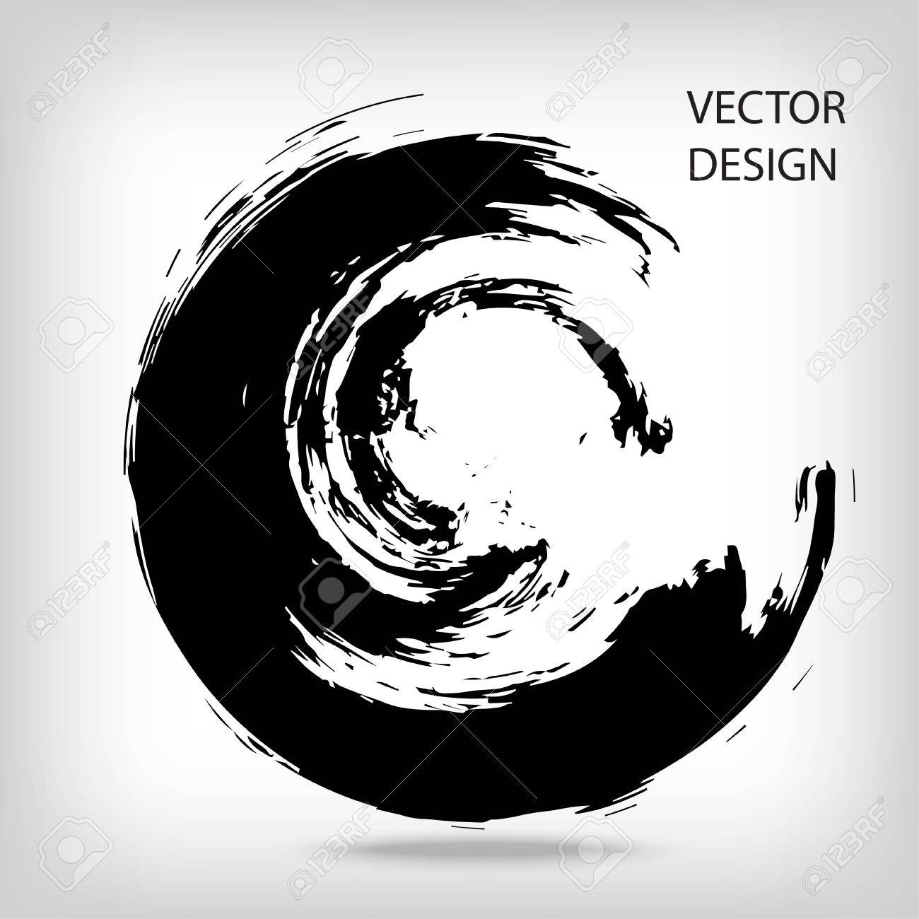 Hand drawn circle shape. Circular label, design element, frame. Brush abstract wave. Black enso zen symbol. Vector illustration. Place for text. - 64695764