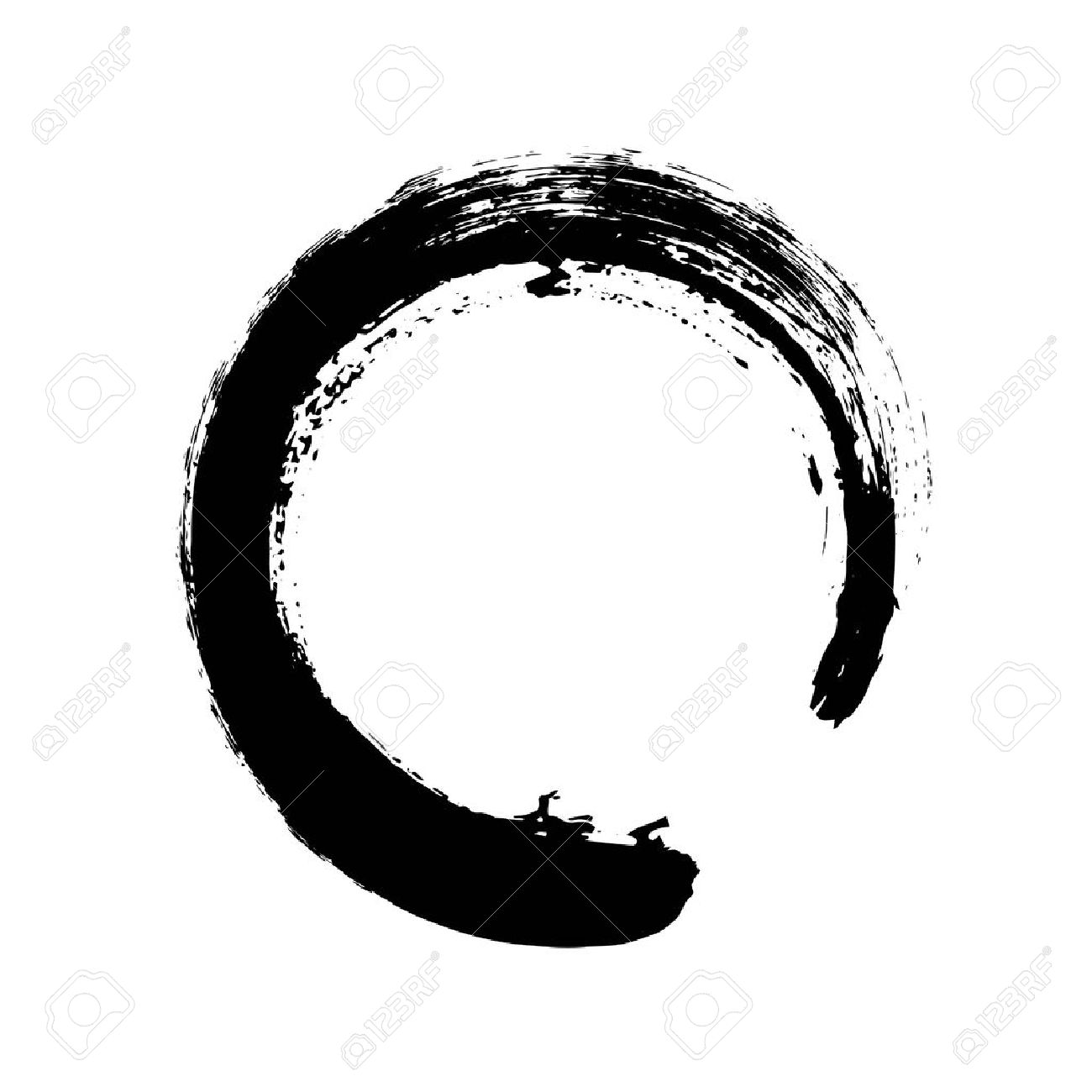 Hand drawn circle shape. Circular label, design element, frame. Brush abstract wave. Black enso zen symbol. Vector illustration. Place for text. - 64695767