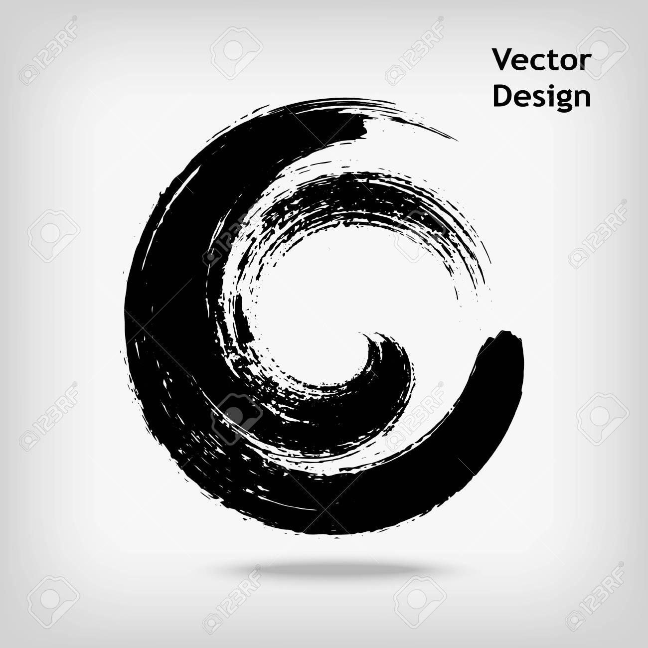 Artistic creative painted circle for logo, label, branding. Black enso zen round. Vector illustration. - 67556627