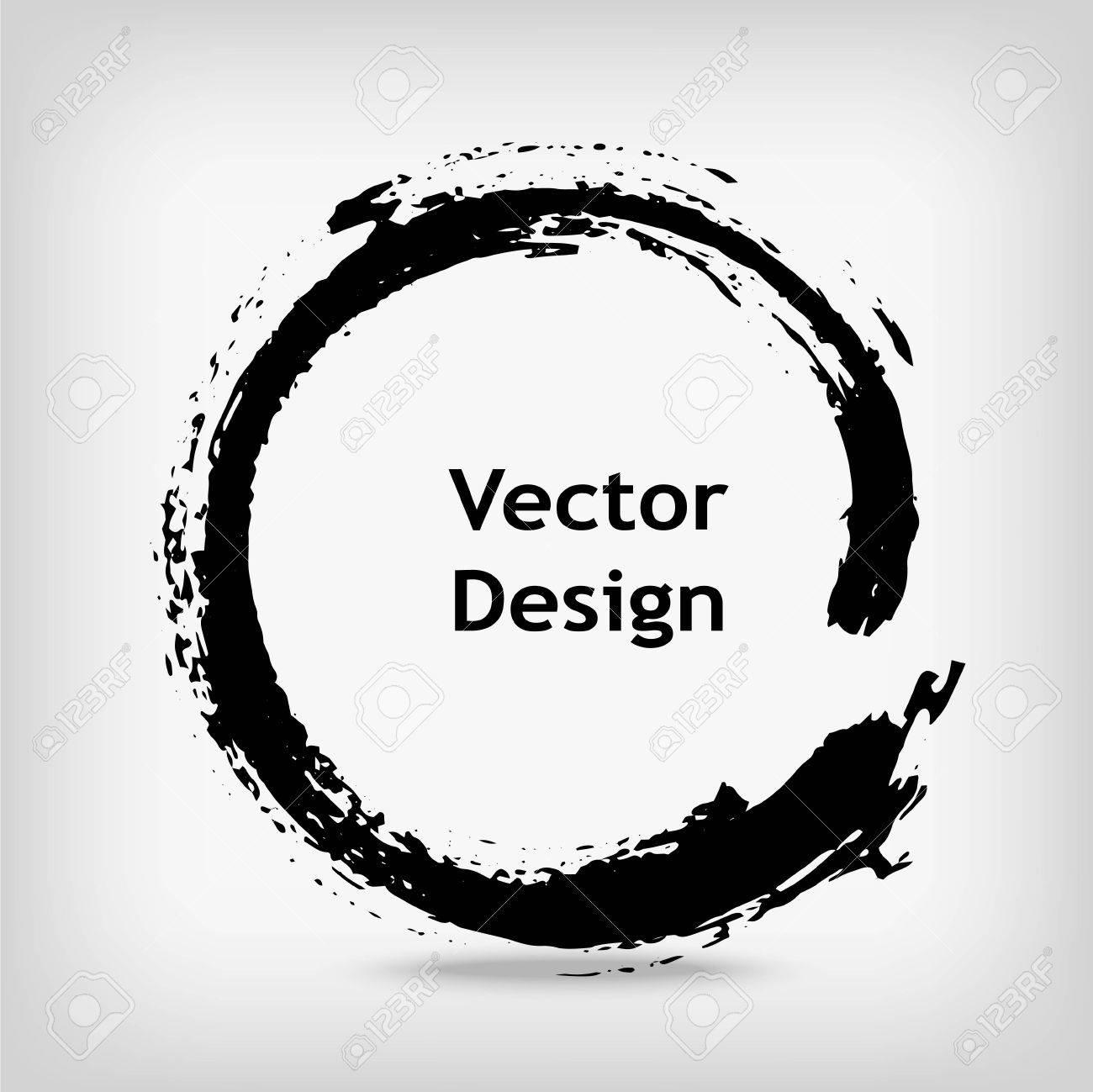 Artistic creative painted circle for logo, label, branding. Black enso zen round. Vector illustration. - 67556623