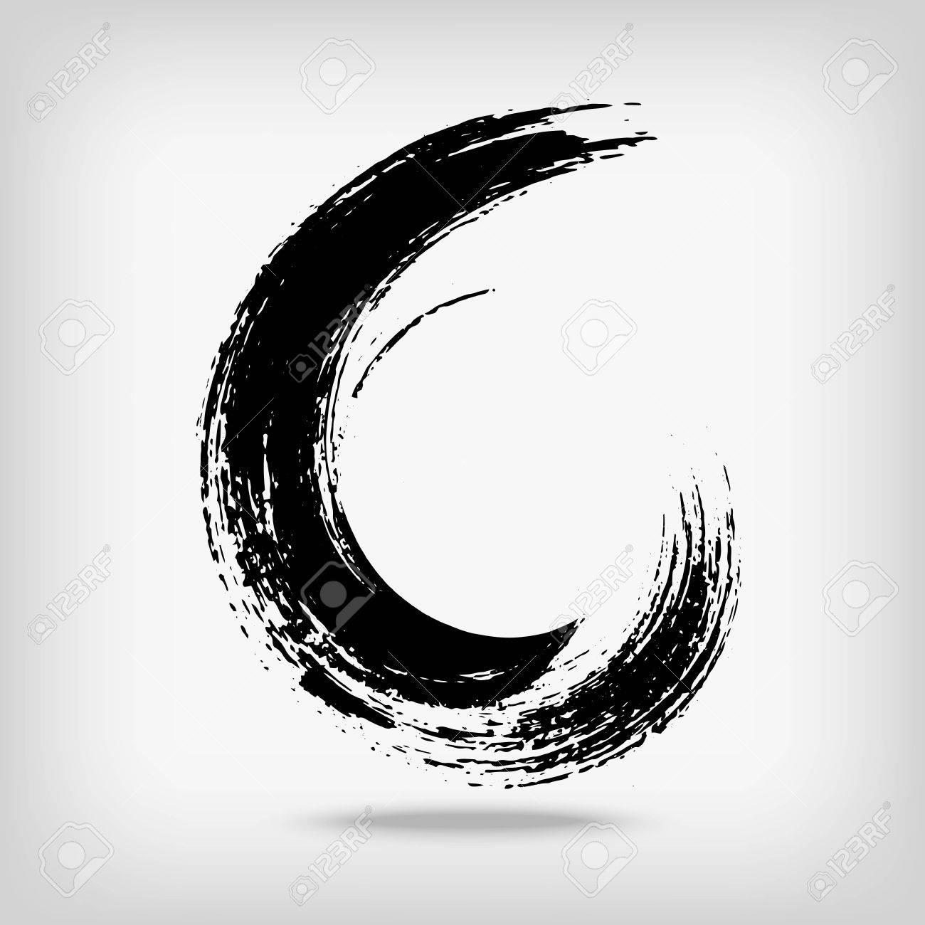 Artistic creative painted circle for logo, label, branding. Black enso zen round. Vector illustration. - 67556621