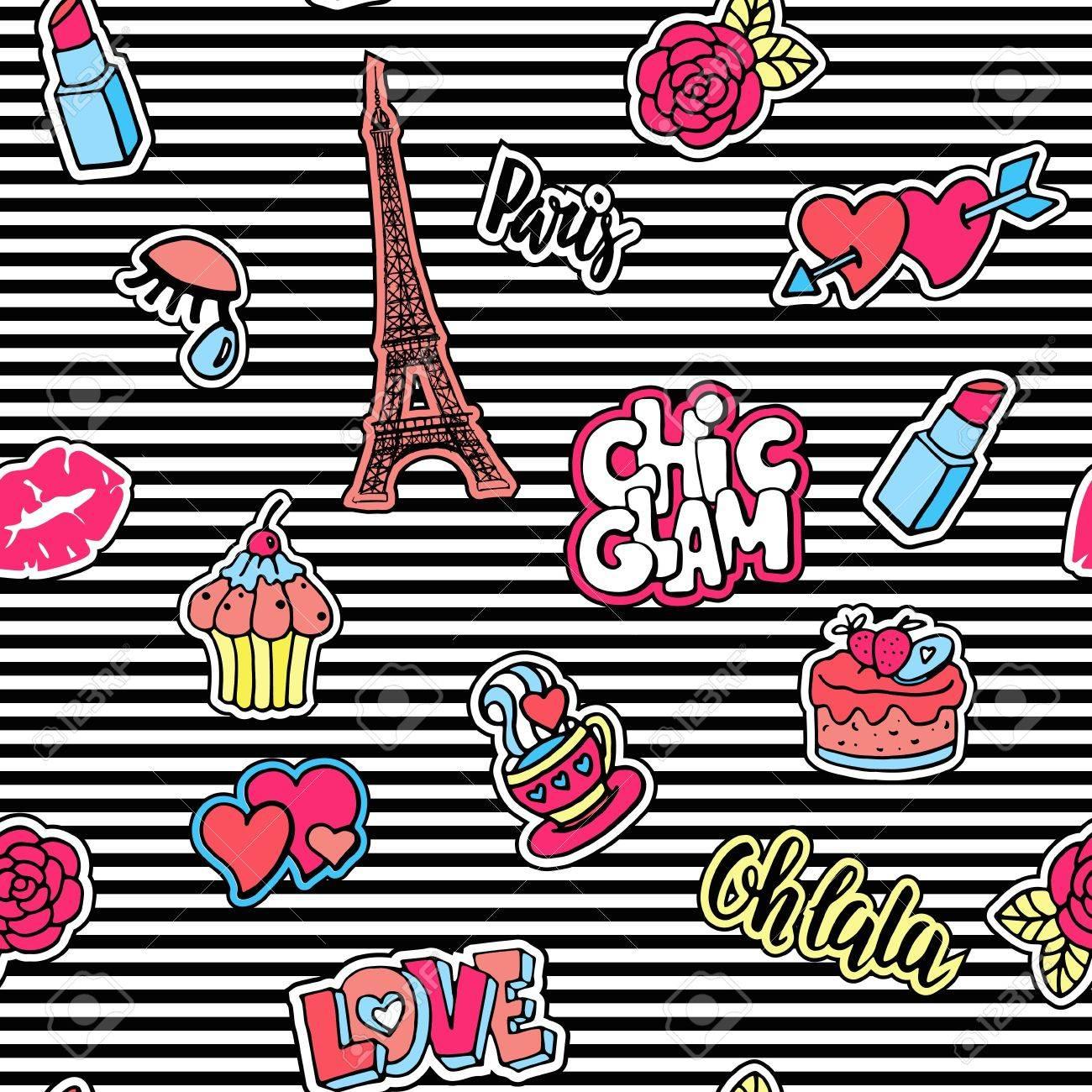 Cute fashion seamless pattern with patch badges.Lips, hearts, Eiffel tower, flower, cake, eye, lipstick. Paris romantic design. - 66091198