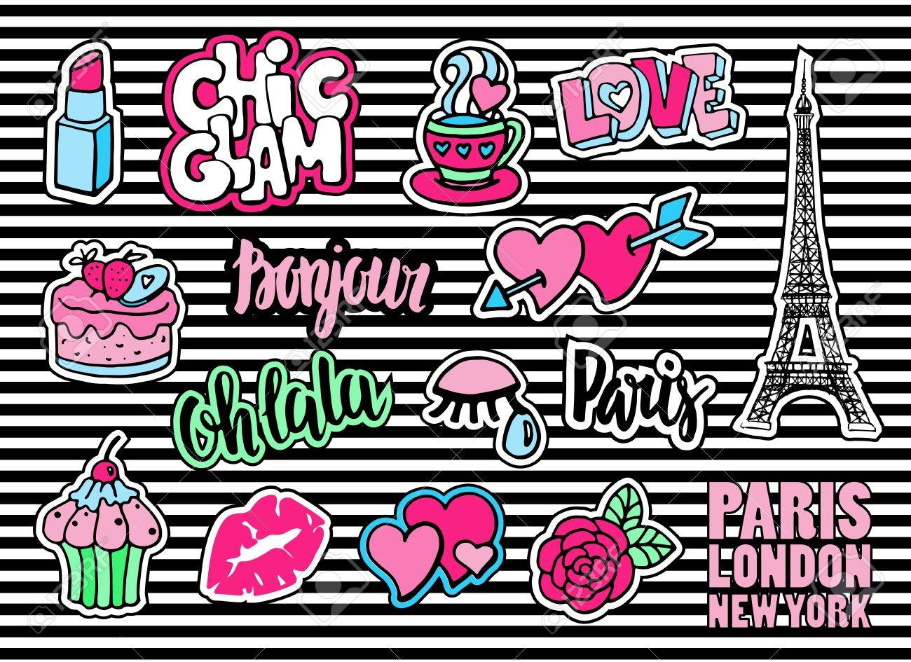 Cute fashion patch badges with lips, hearts, Eiffel tower, flower, cake, eye, lipstick. Paris romantic design. Set of doodle stickers, pins, in cartoon 80s-90s comic style. Sign hello in french. - 66091199