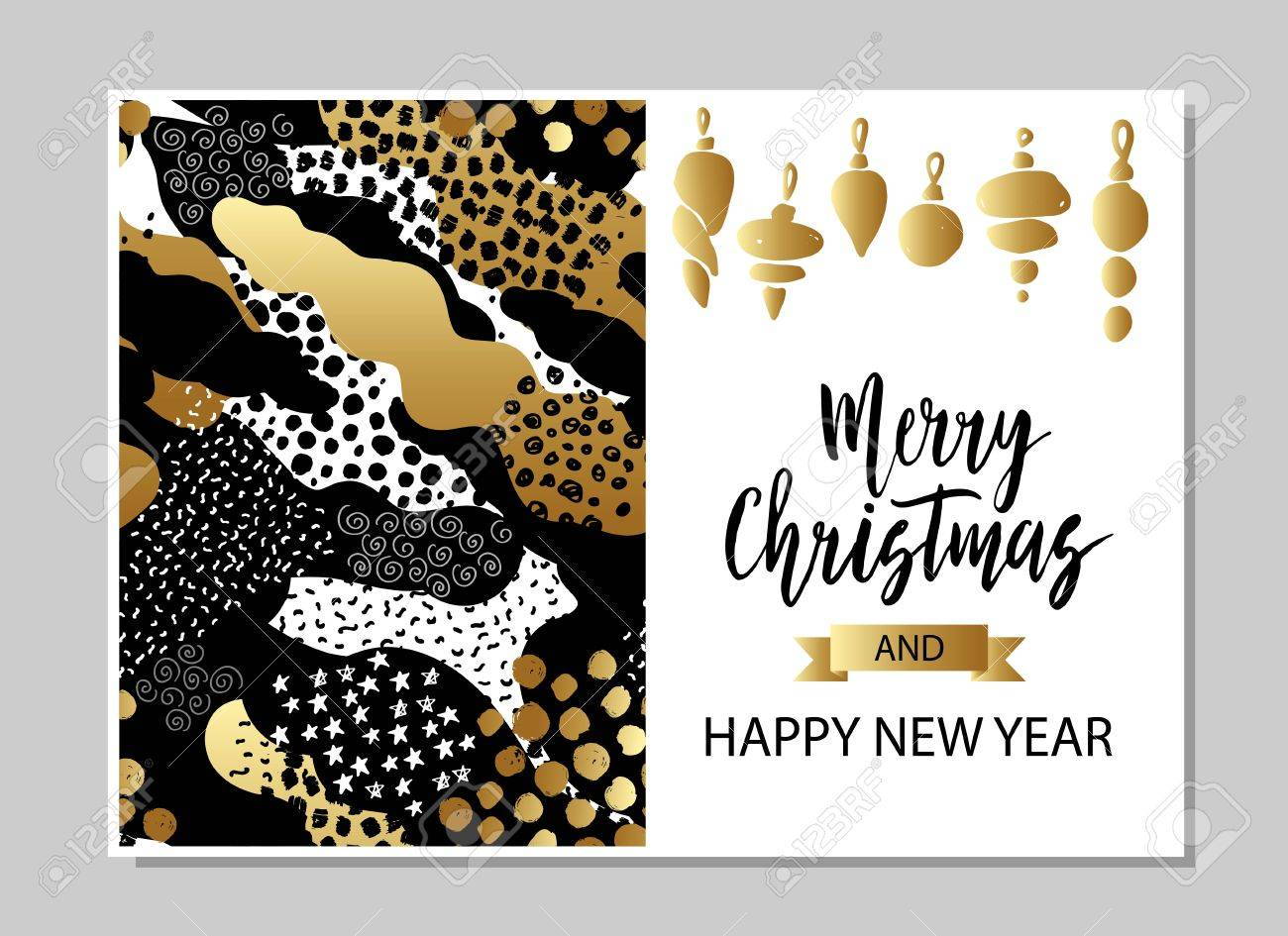 merry christmas and happy new year card template hand drawn textures lettering golden