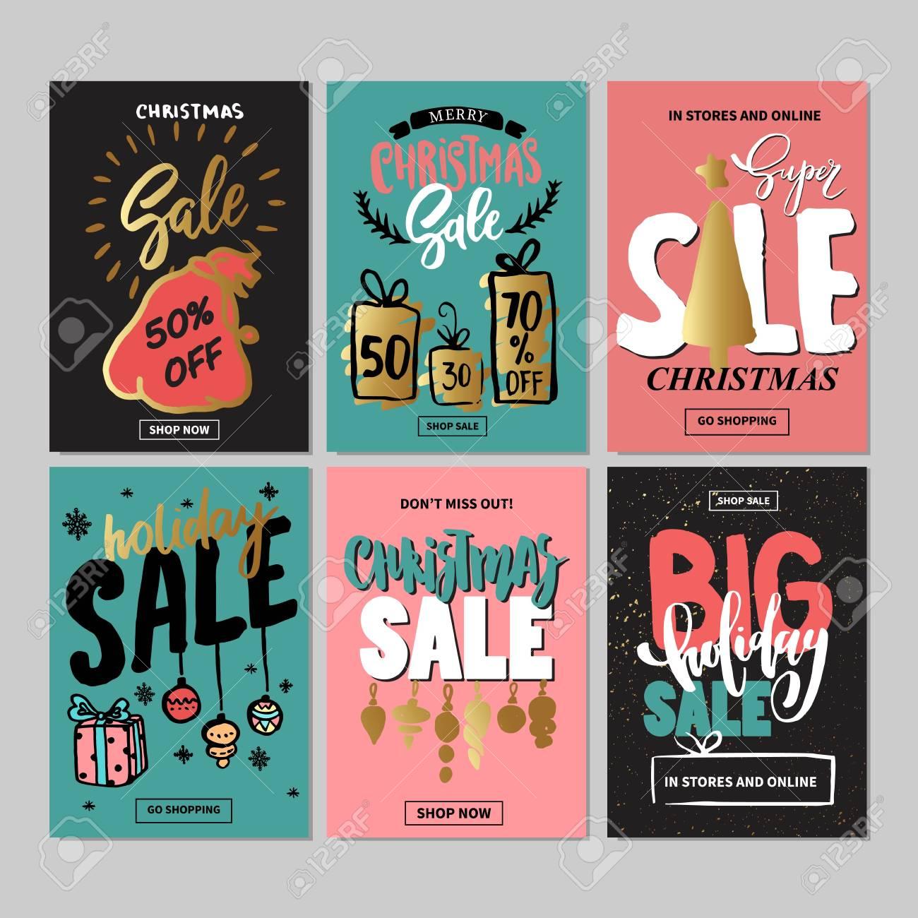 Set Kreativ Verkauf Ferien Website Banner-Vorlagen. Weihnachten Und ...