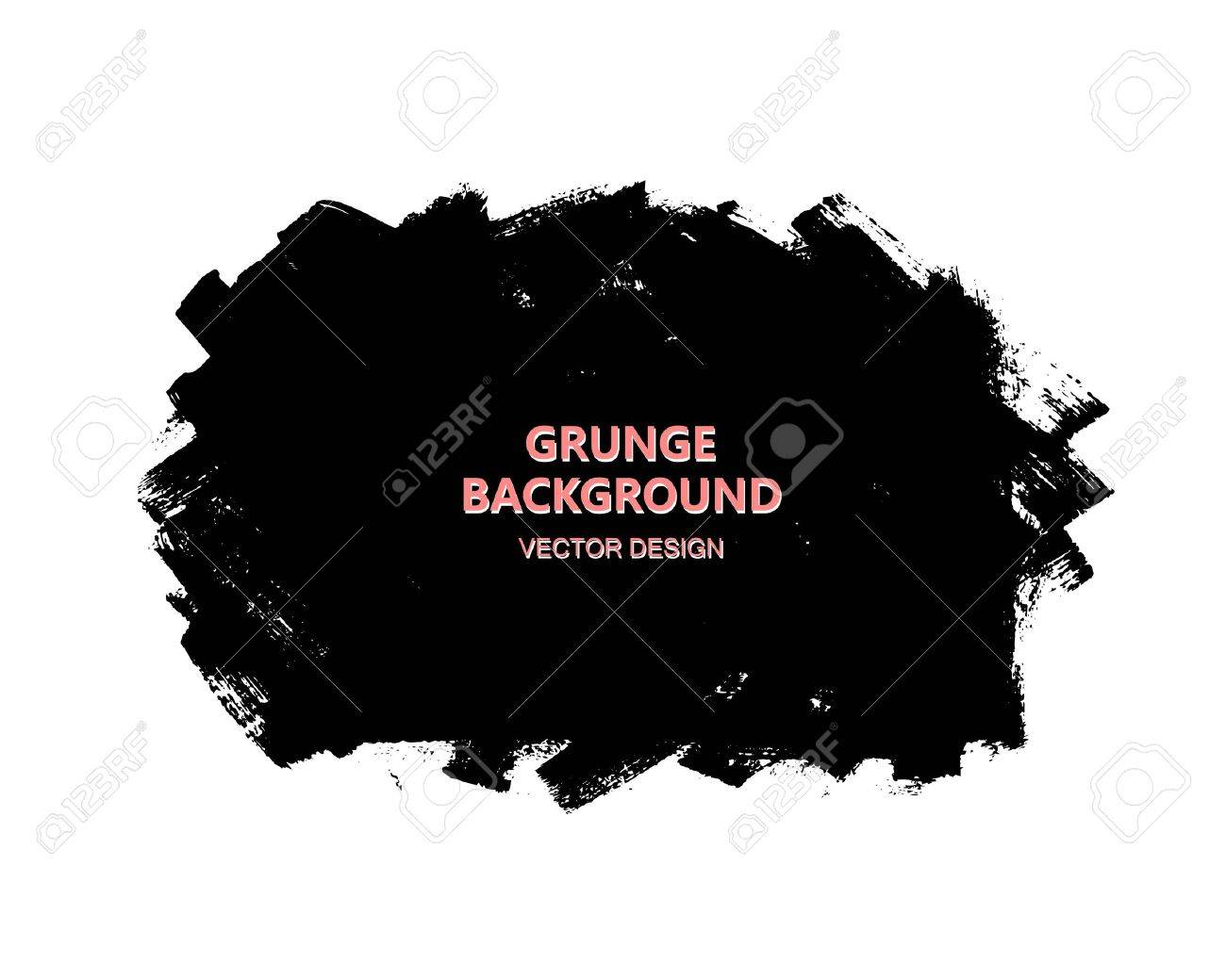 Black paint design element, place for text information, quote. Dirty grunge background. - 67323243