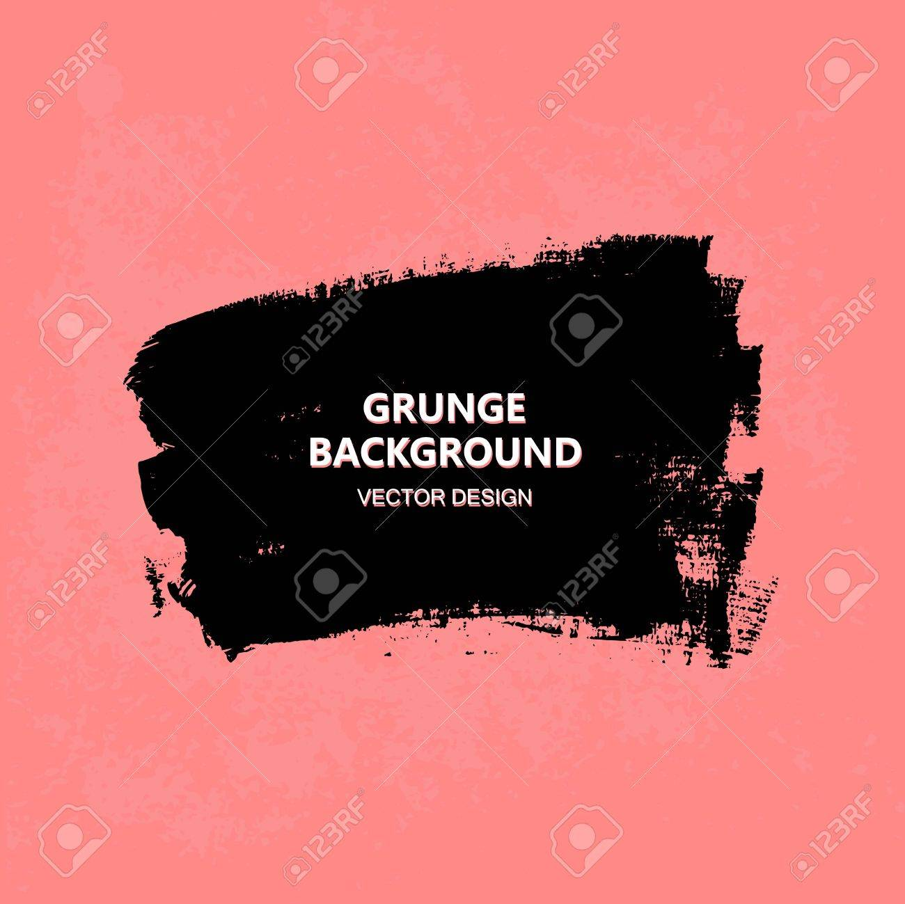 Black paint design element, place for text information, quote. Dirty grunge background. - 67323242