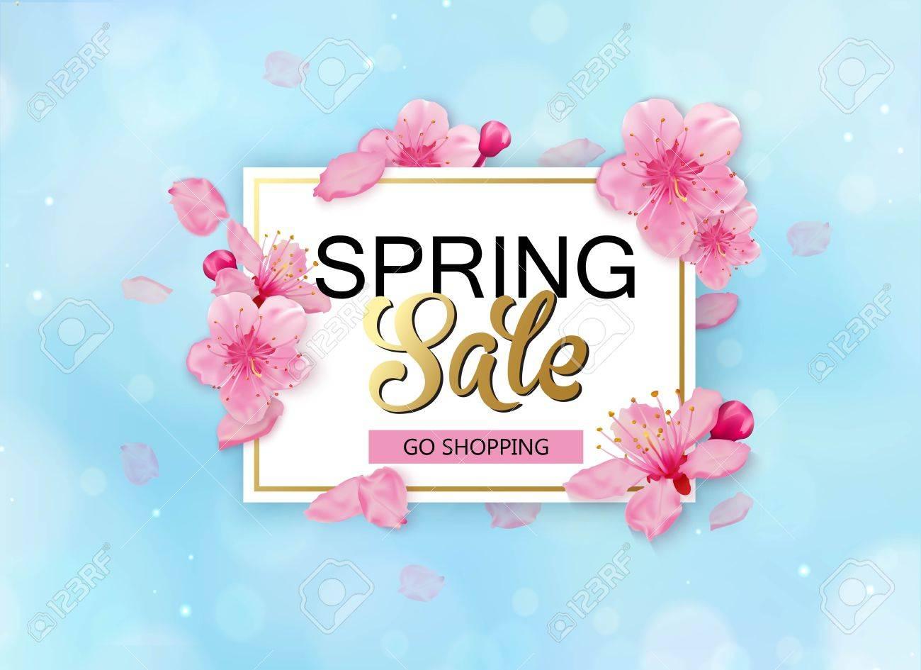 Spring sale with flowers season discount banner design with cherry spring sale with flowers season discount banner design with cherry blossoms and petals stok izmirmasajfo