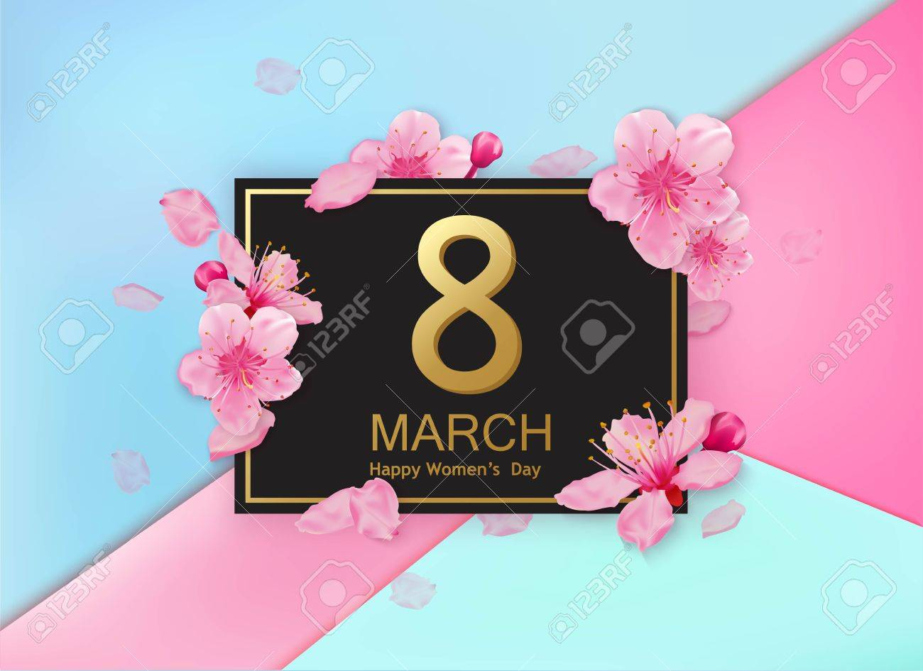 8 march modern design with flowers. Happy womens day stylish greeting card with cherry blossoms and petals. - 71587743