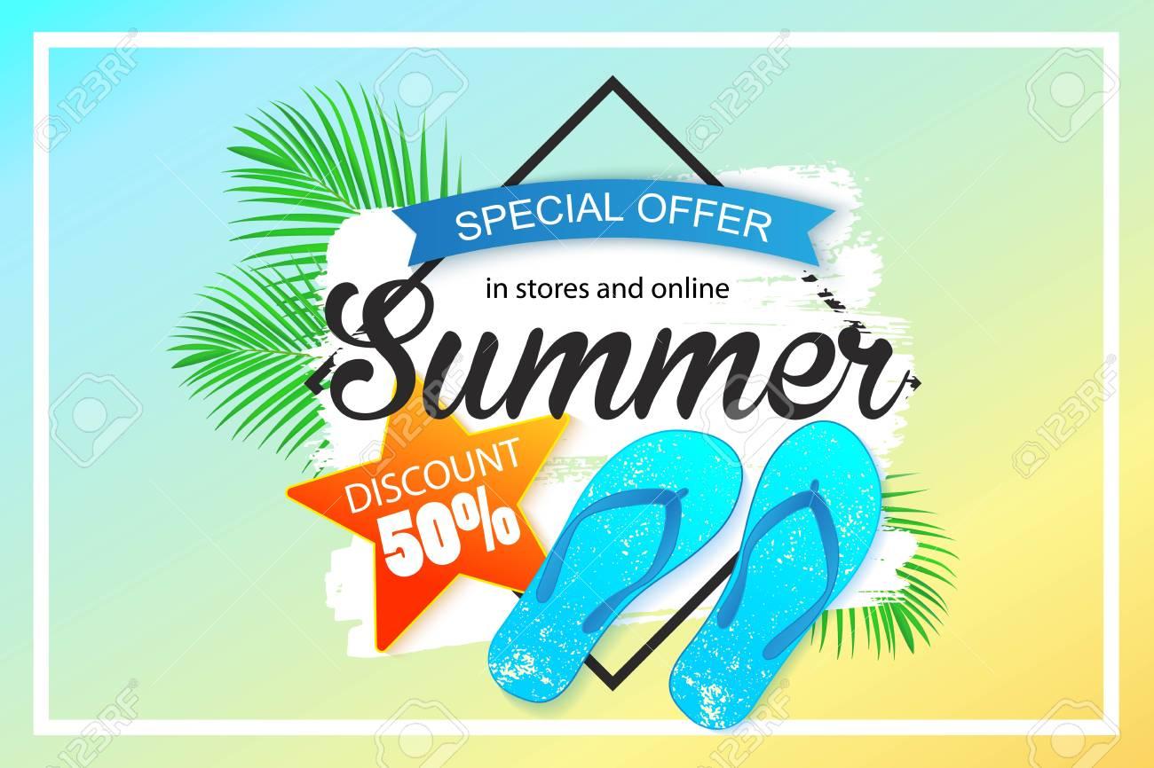 Summer sale background design for banner - 80115312