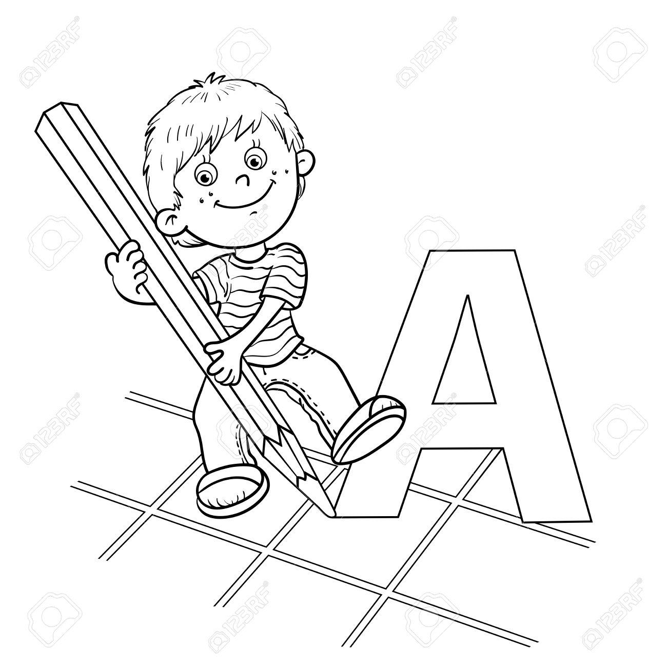Esquema Página Para Colorear De Un Niño De Dibujos Animados Dibujo ...