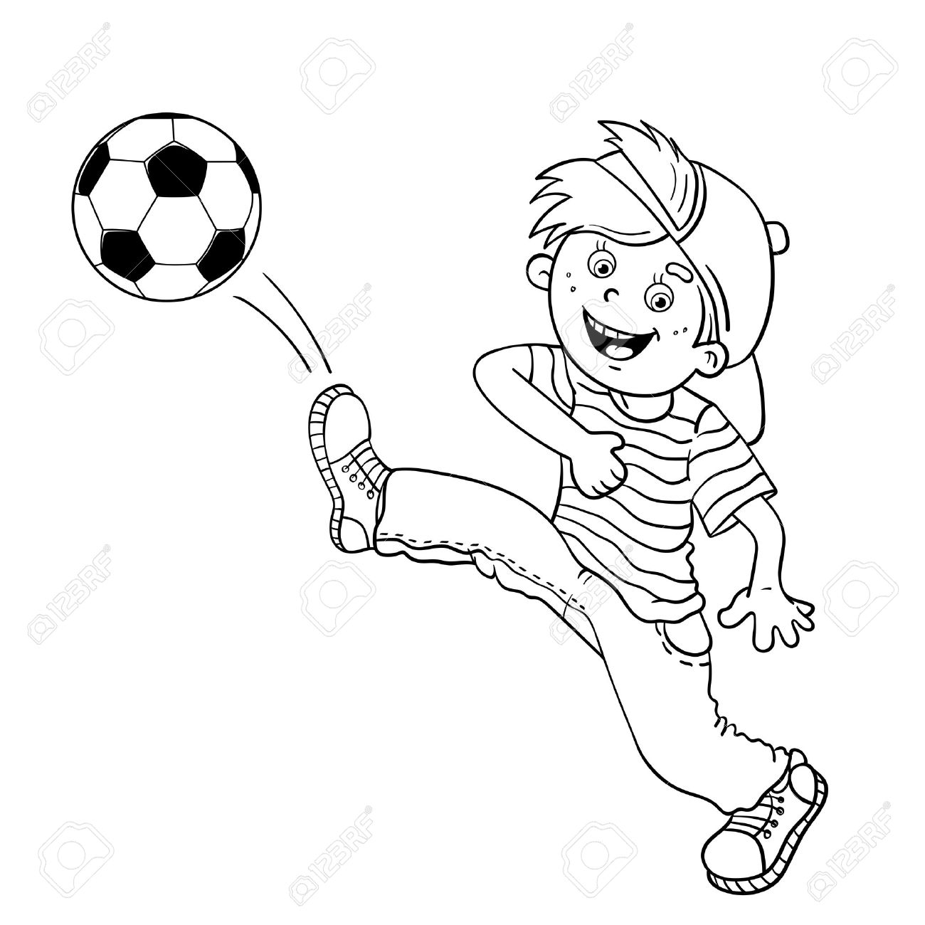 Coloring Page Outline Of A Cartoon Boy Kicking Soccer Ball Stock Vector