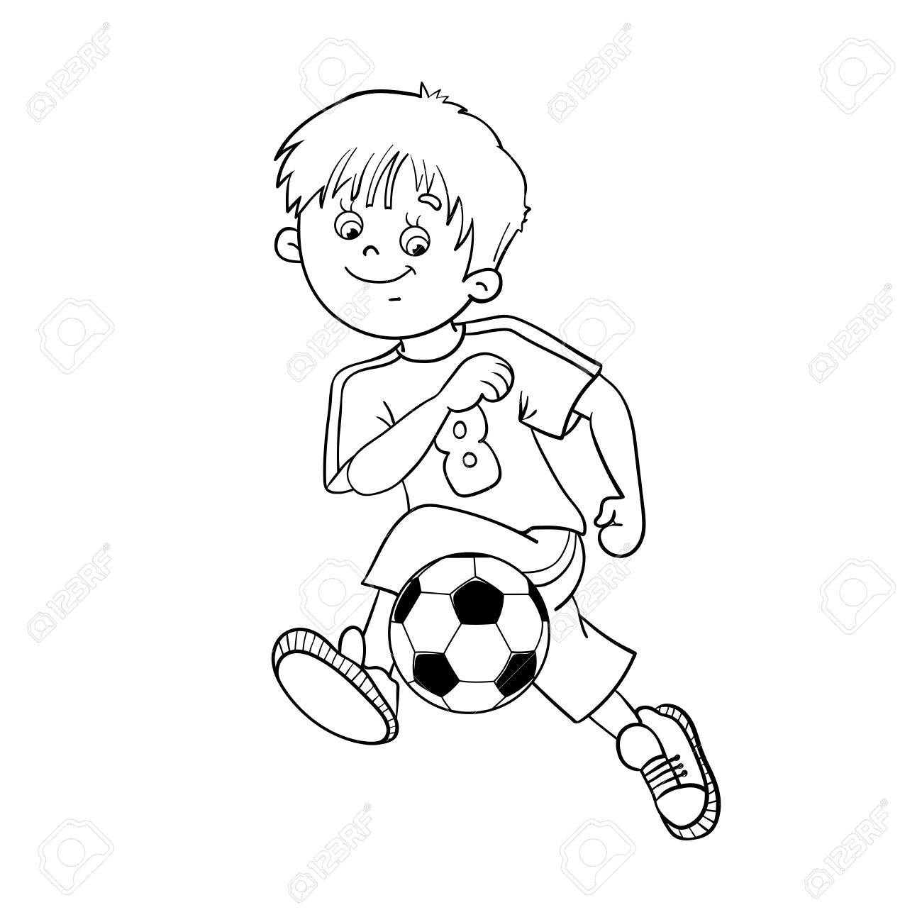 coloring page outline of a soccer boy royalty free cliparts