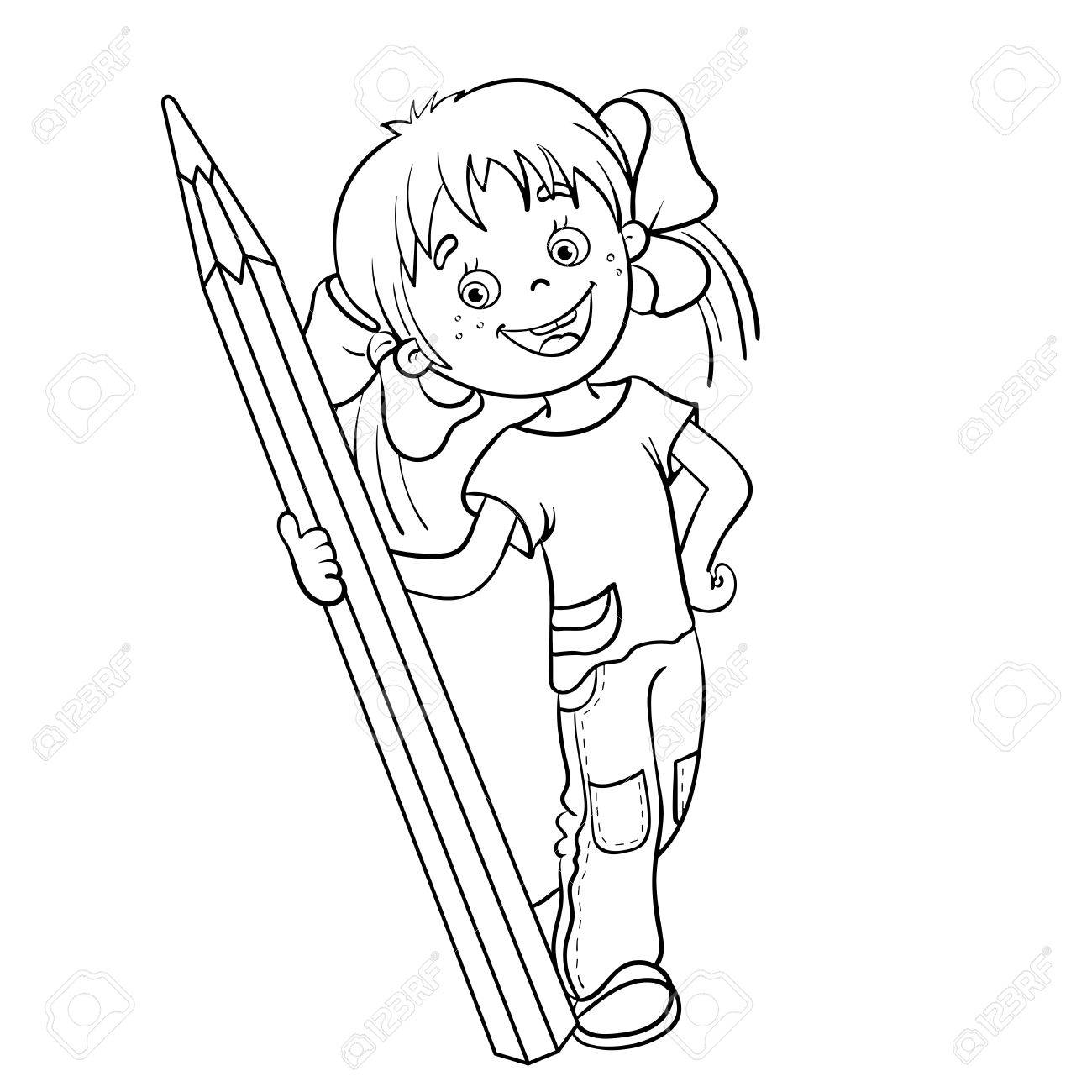 coloring page outline of a cartoon girl with pencil royalty free coloring pages of makeup sets