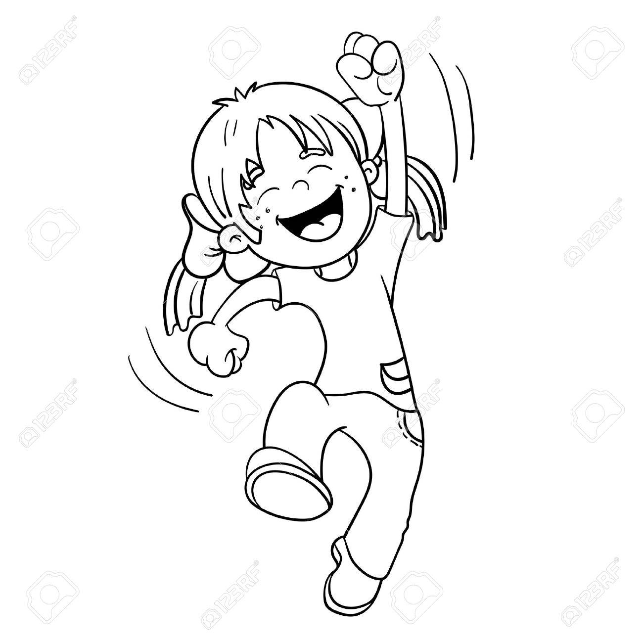 Coloring Page Outline Of A Cartoon Jumping Girl Royalty Free ...