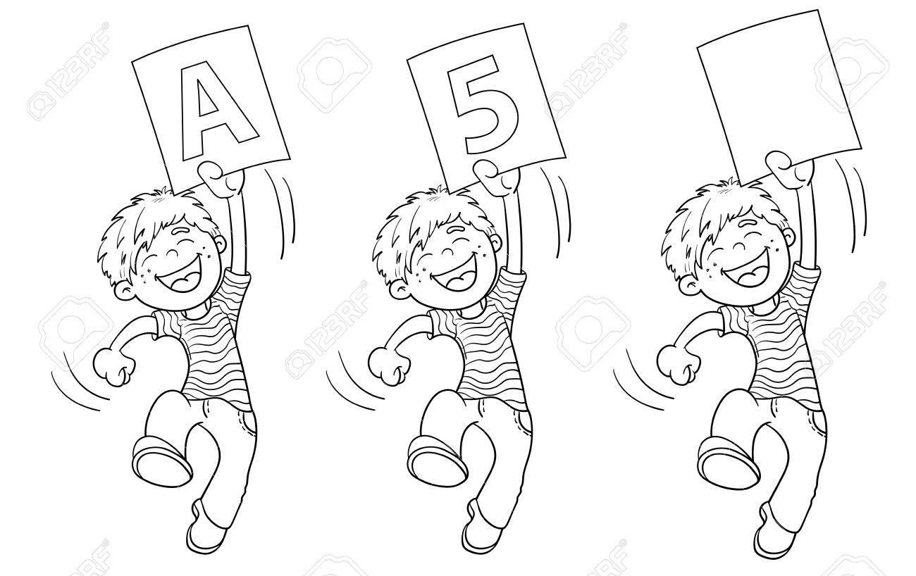 Página Para Colorear Esquema De Un Niño De Dibujos Animados De Salto Con La Calificación Más Alta