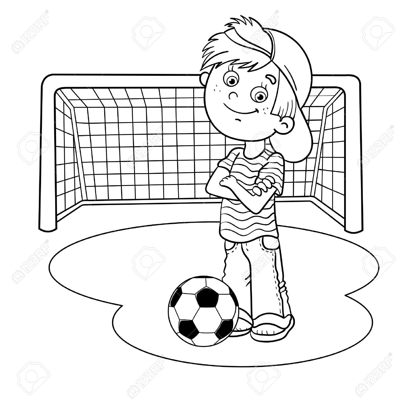 Coloring Page Outline Of A Cartoon Boy With Soccer Ball And Football Goal Stock Vector