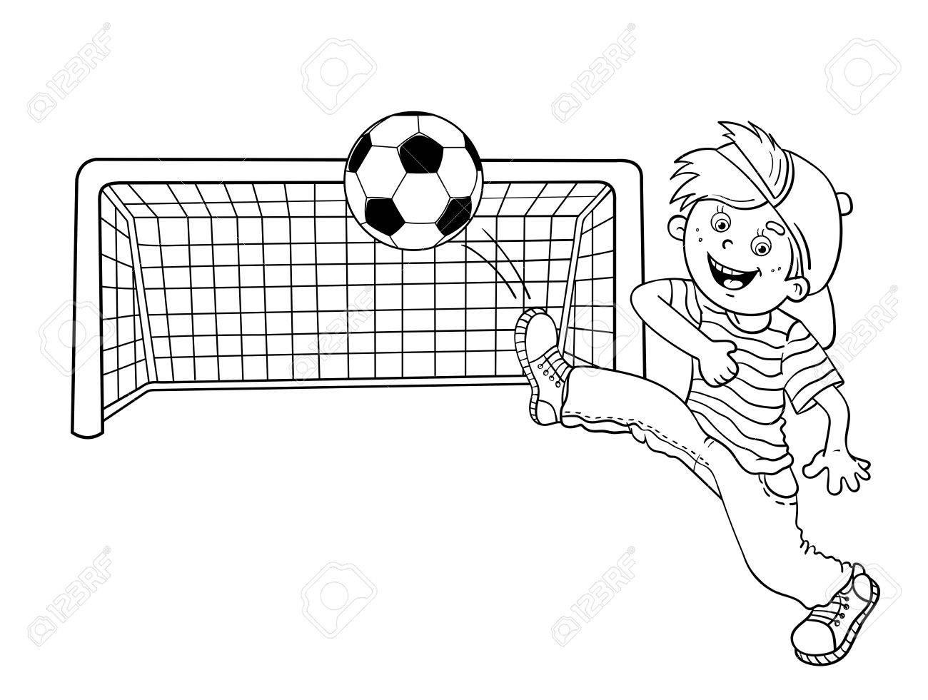 Esquema Página Para Colorear De Un Muchacho De Dibujos Animados Patear Un Balón De Fútbol