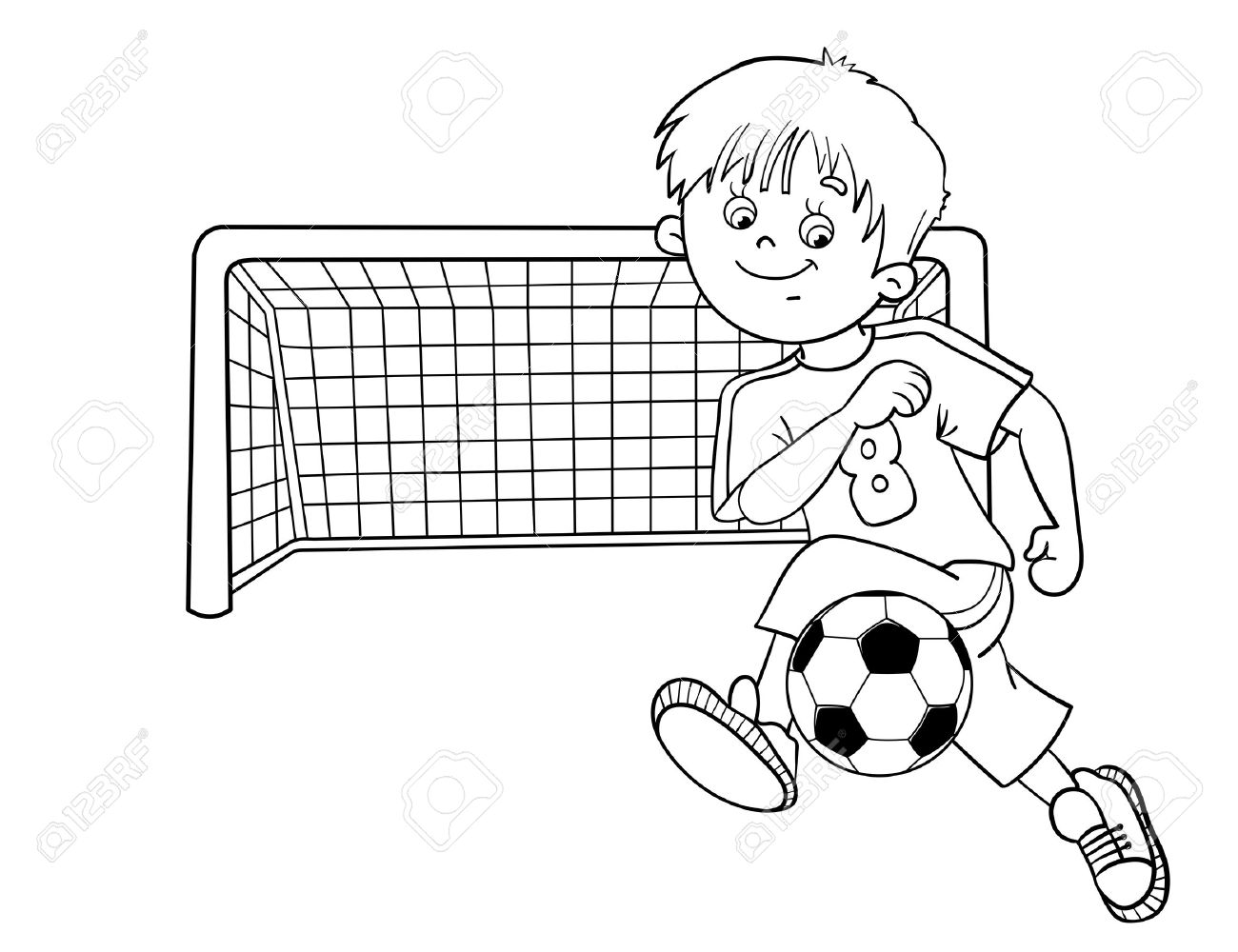 coloring page outline of a cartoon boy with a soccer ball and football goal stock vector