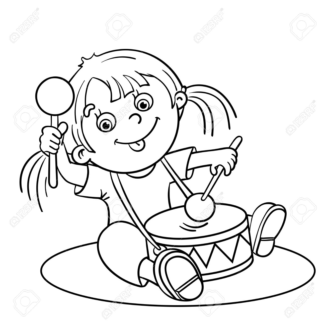 Coloring pictures drums - Cartoon Girl Playing Drums Colring Page Jpg 1300x1300 Cartoon Characters Playing Drums Coloring Pages