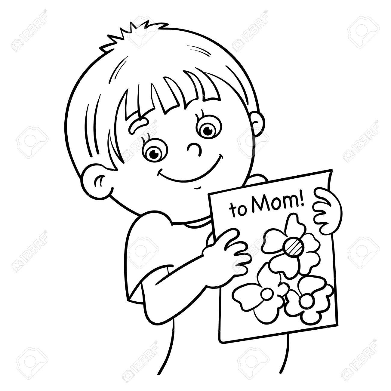 Coloring Page Outline Of A Cartoon Boy With Picture Stock Vector