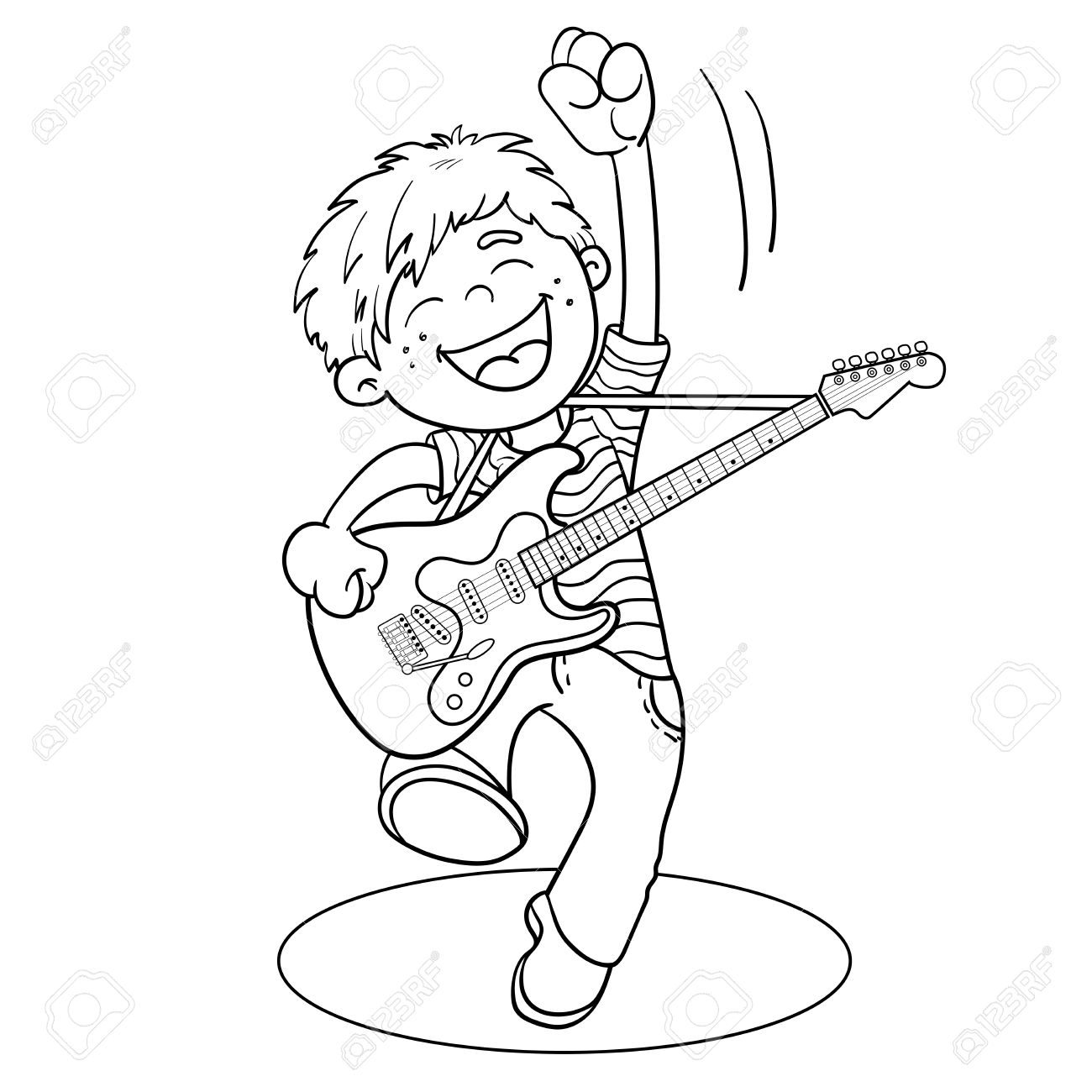 Coloring Page Outline Of A Cartoon Boy With Guitar Isolated On White Background Stock Vector