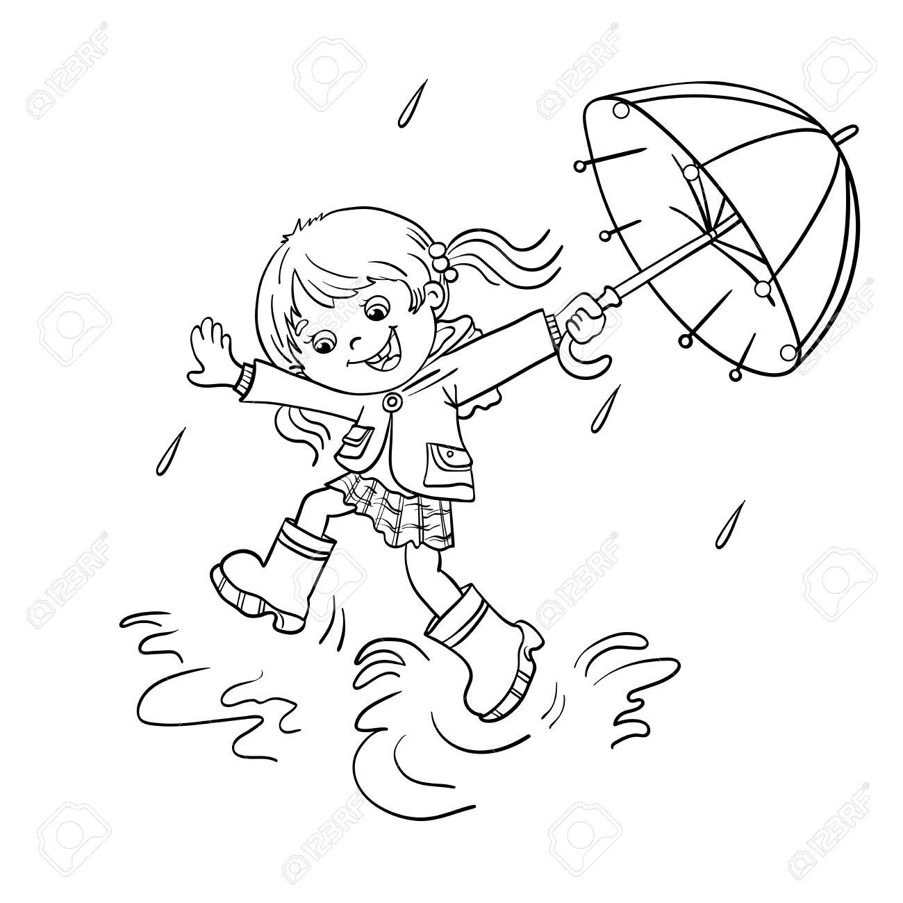 Coloriage contour d une fille joyeuse bande dessinée sautant sous la pluie avec un parapluie