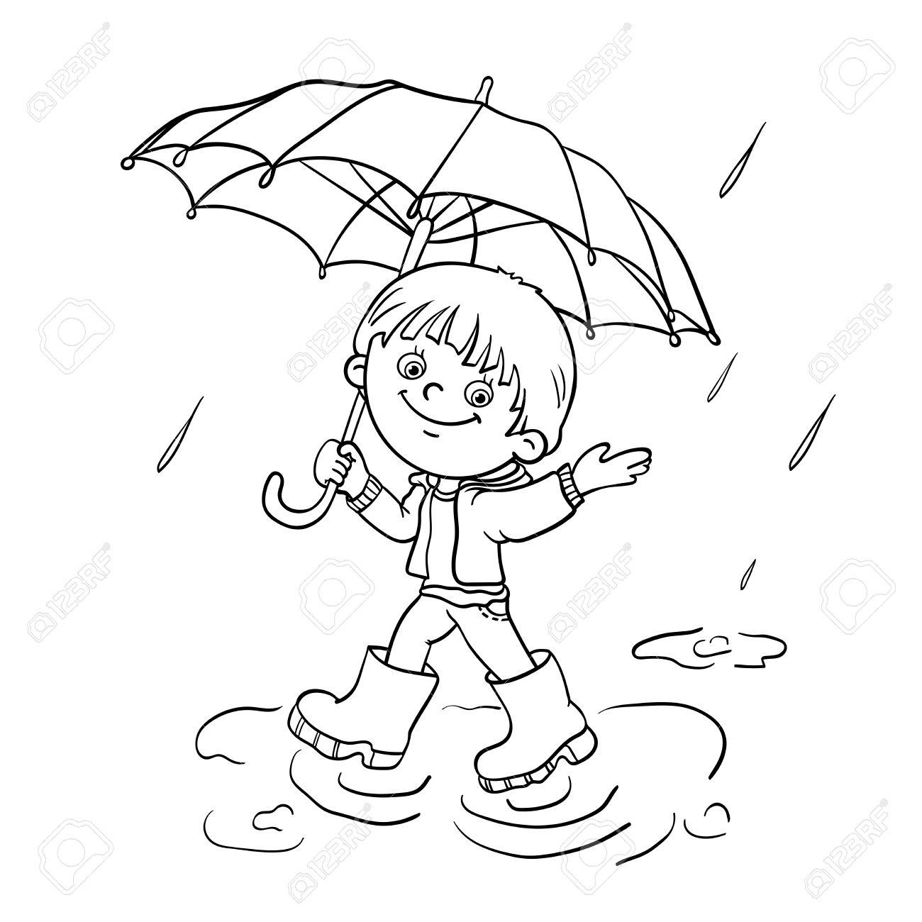 Coloriage contour d un gar§on joyeux Cartoon marcher sous la pluie avec un parapluie Banque
