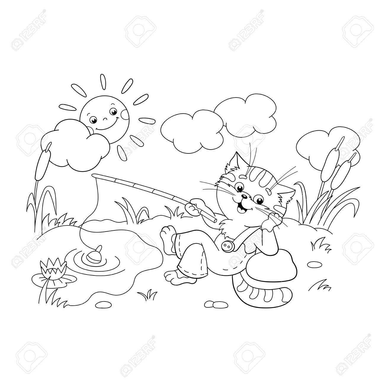 coloring page outline of a funny cat catching a fish on a pond