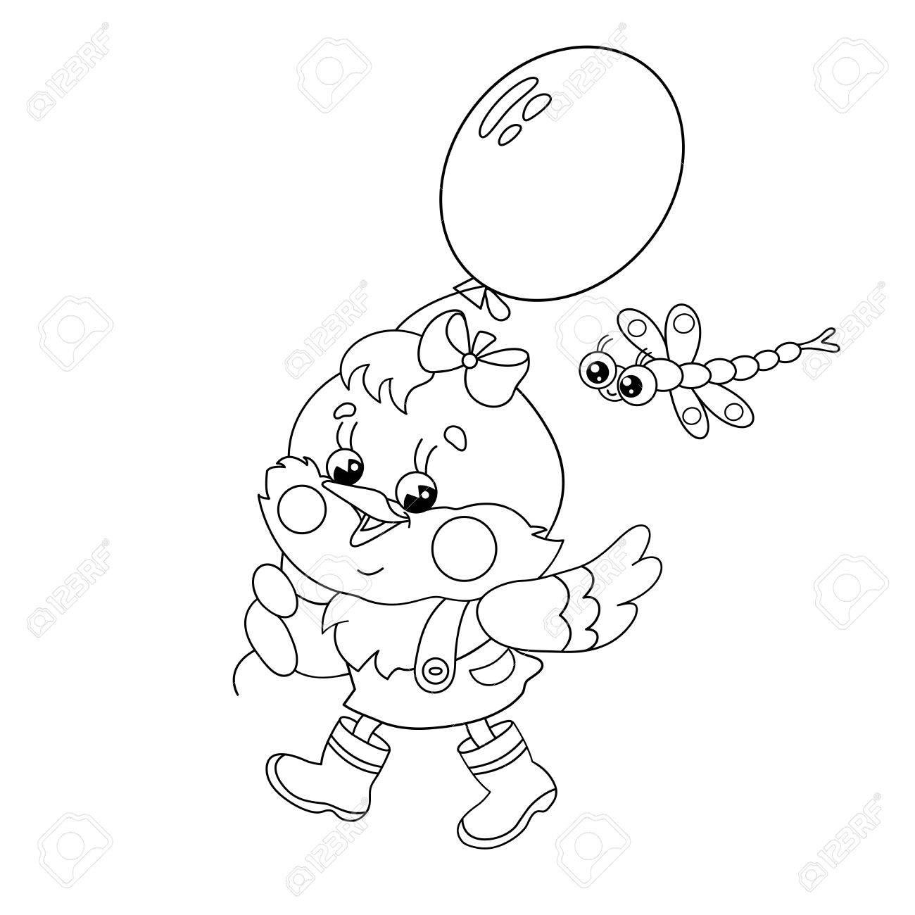 Malvorlagen Umriss Eines Glücklichen Huhn Zu Fuß Mit Einem Ballon ...