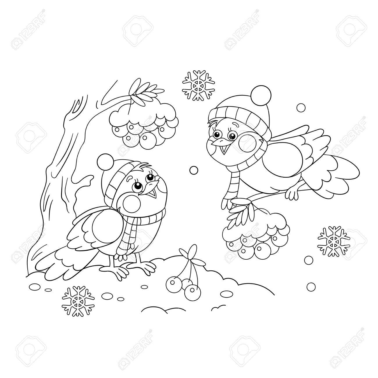 Coloring Page Outline Of funny birds in winter