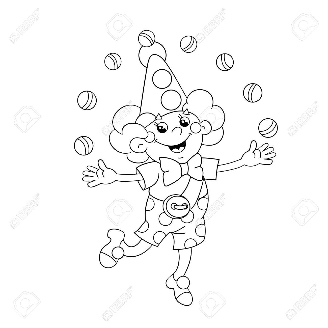Coloring Page Outline Of A Funny Clown Juggling Balls Royalty Free ...