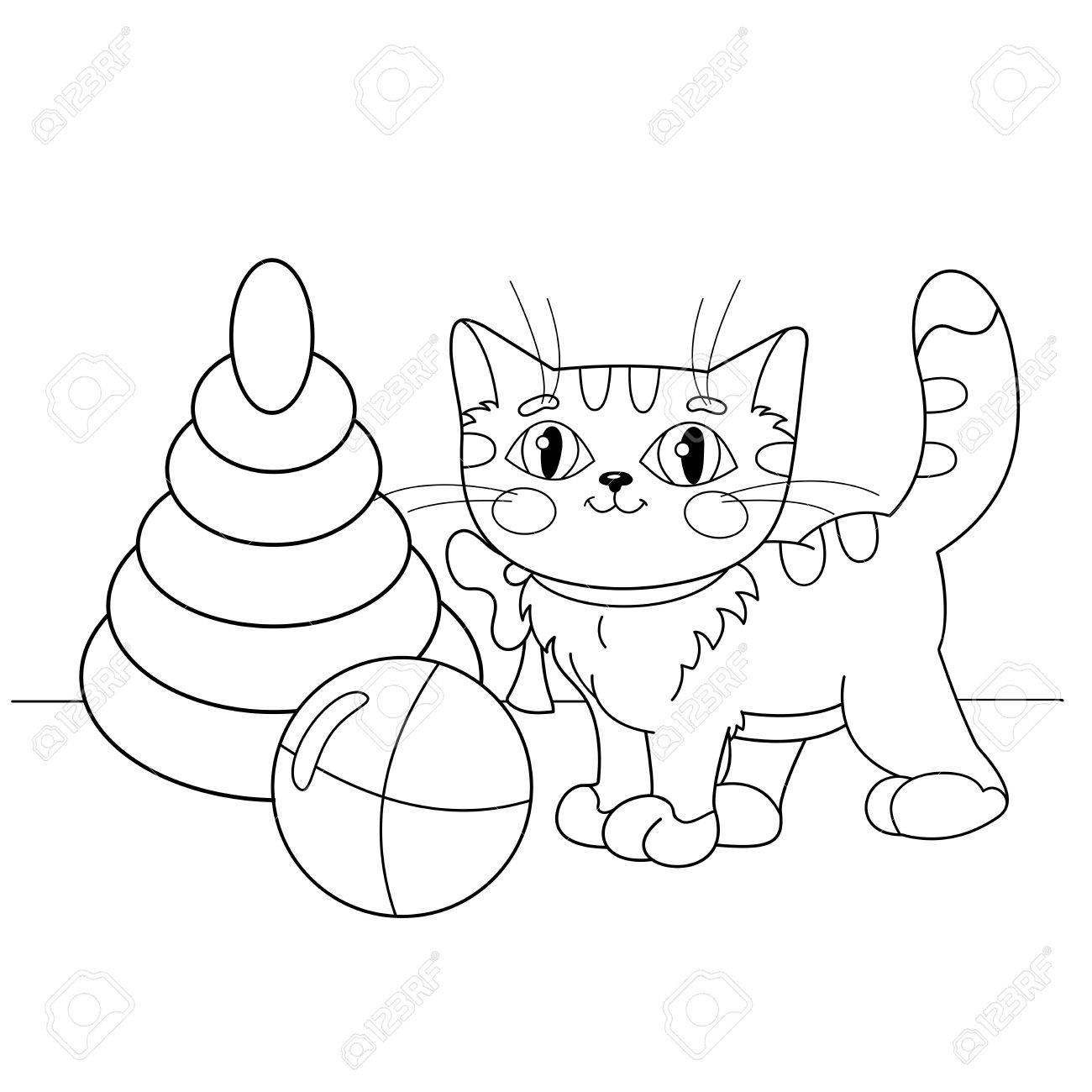 Pagina Para Colorear Esquema De Dibujos Animados Del Gato Jugando