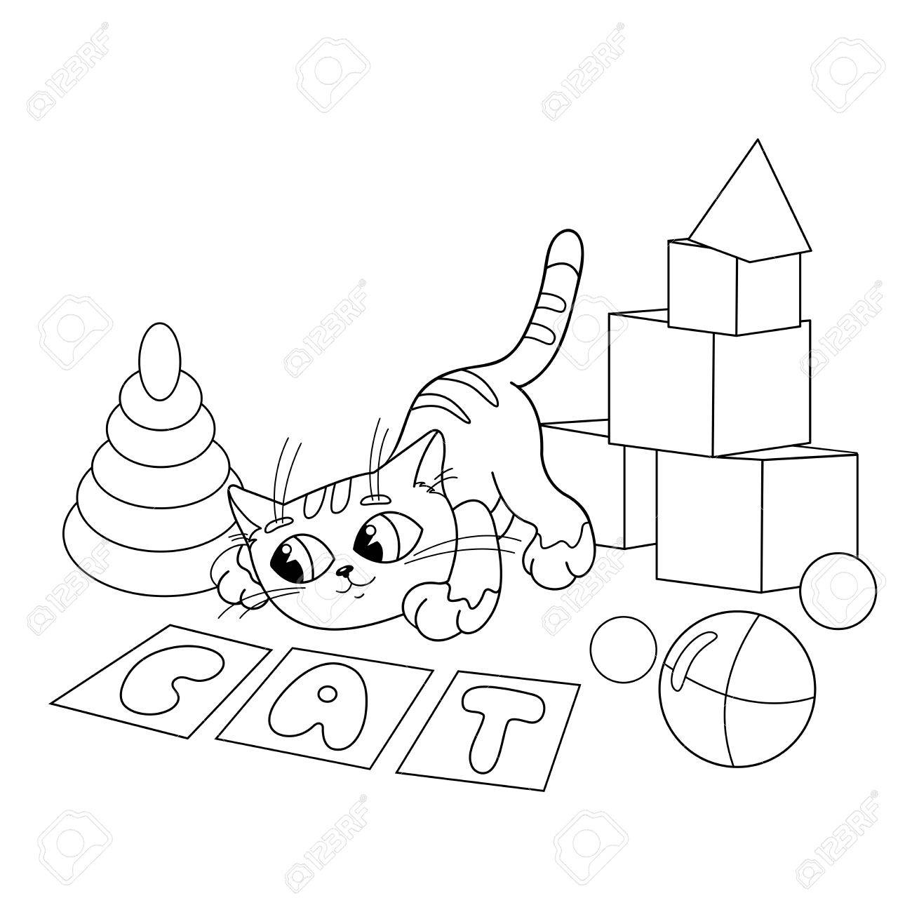 coloring page outline of cartoon cat playing with toys coloring