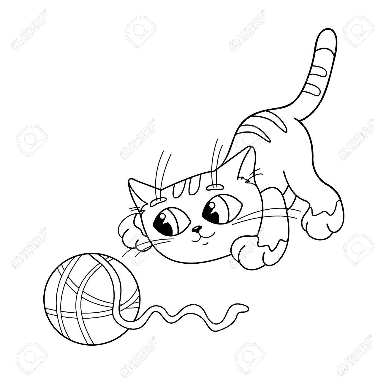 Página Para Colorear Esquema De Un Gato De Dibujos Animados Jugando ...