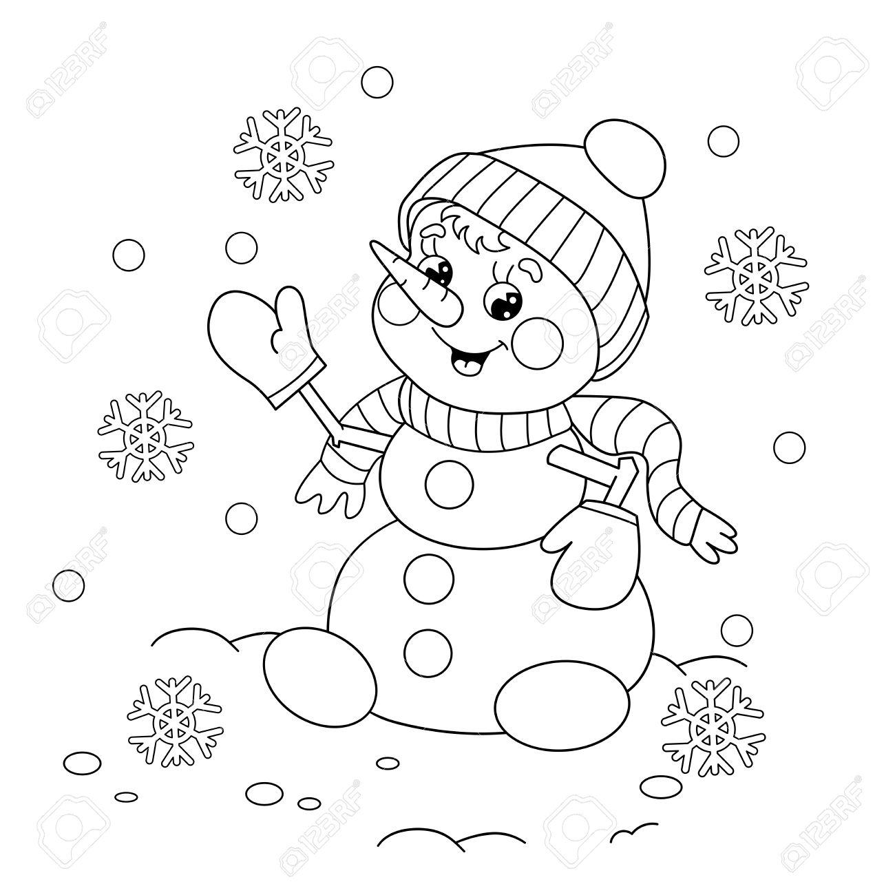 Coloriage contour de bonhomme de neige de bande dessinée Winters livre de coloriage pour les