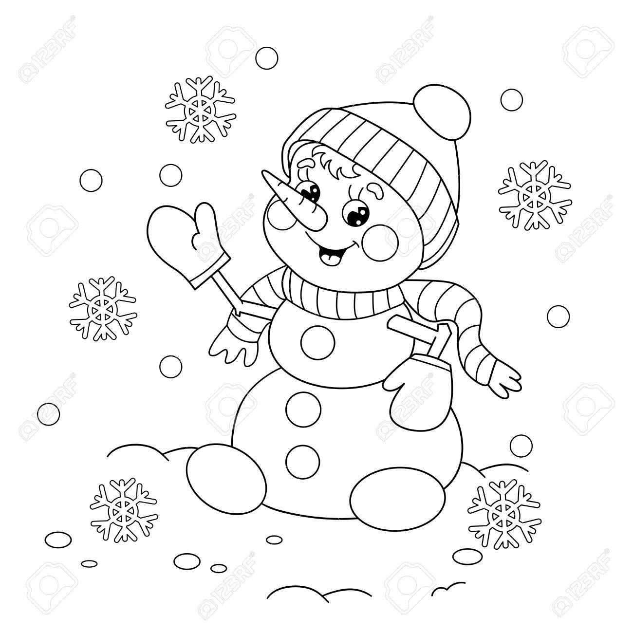 coloring page outline of cartoon snowman winters coloring book