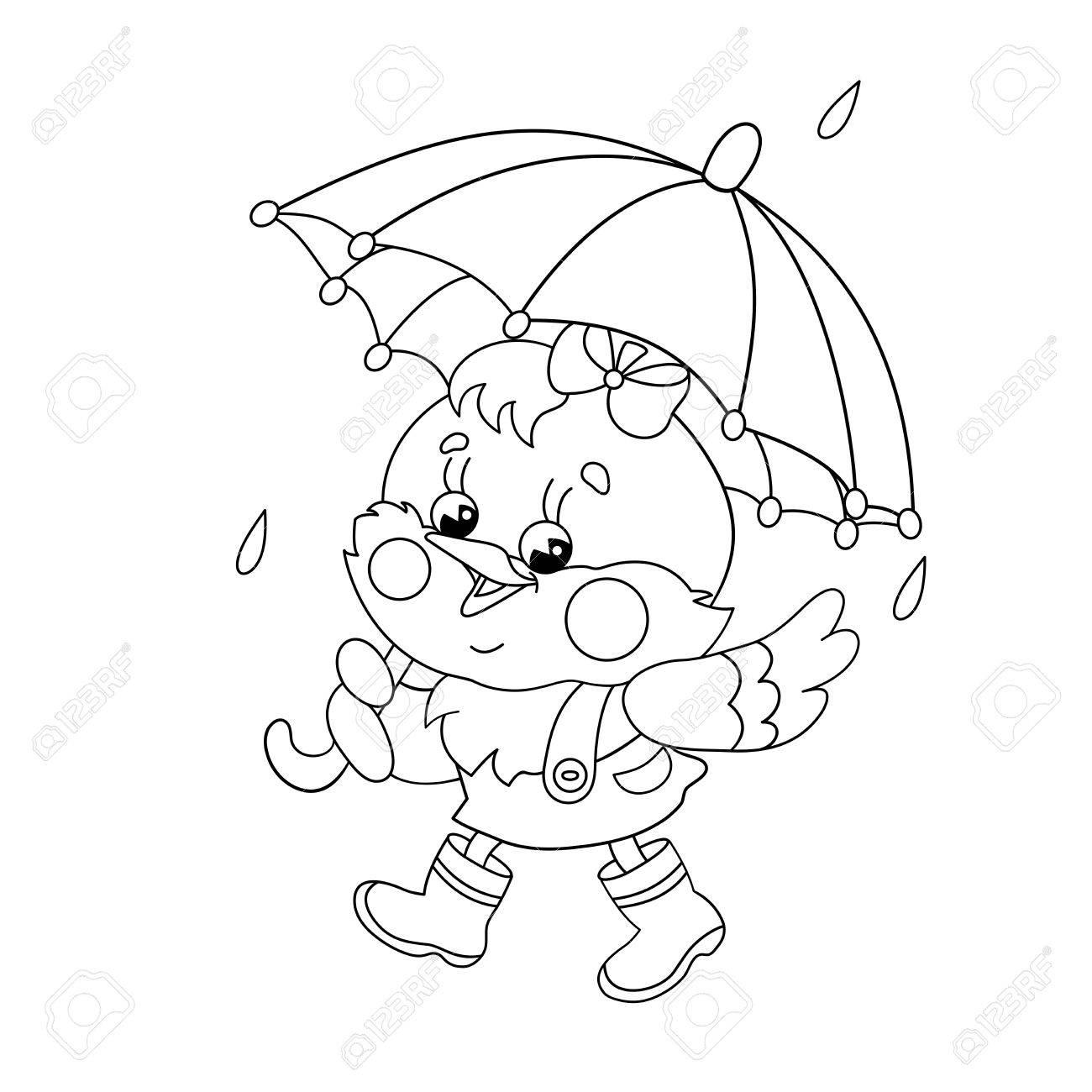 Malvorlagen Umriss Eines Glücklichen Huhn Zu Fuß In Der Regen Mit ...