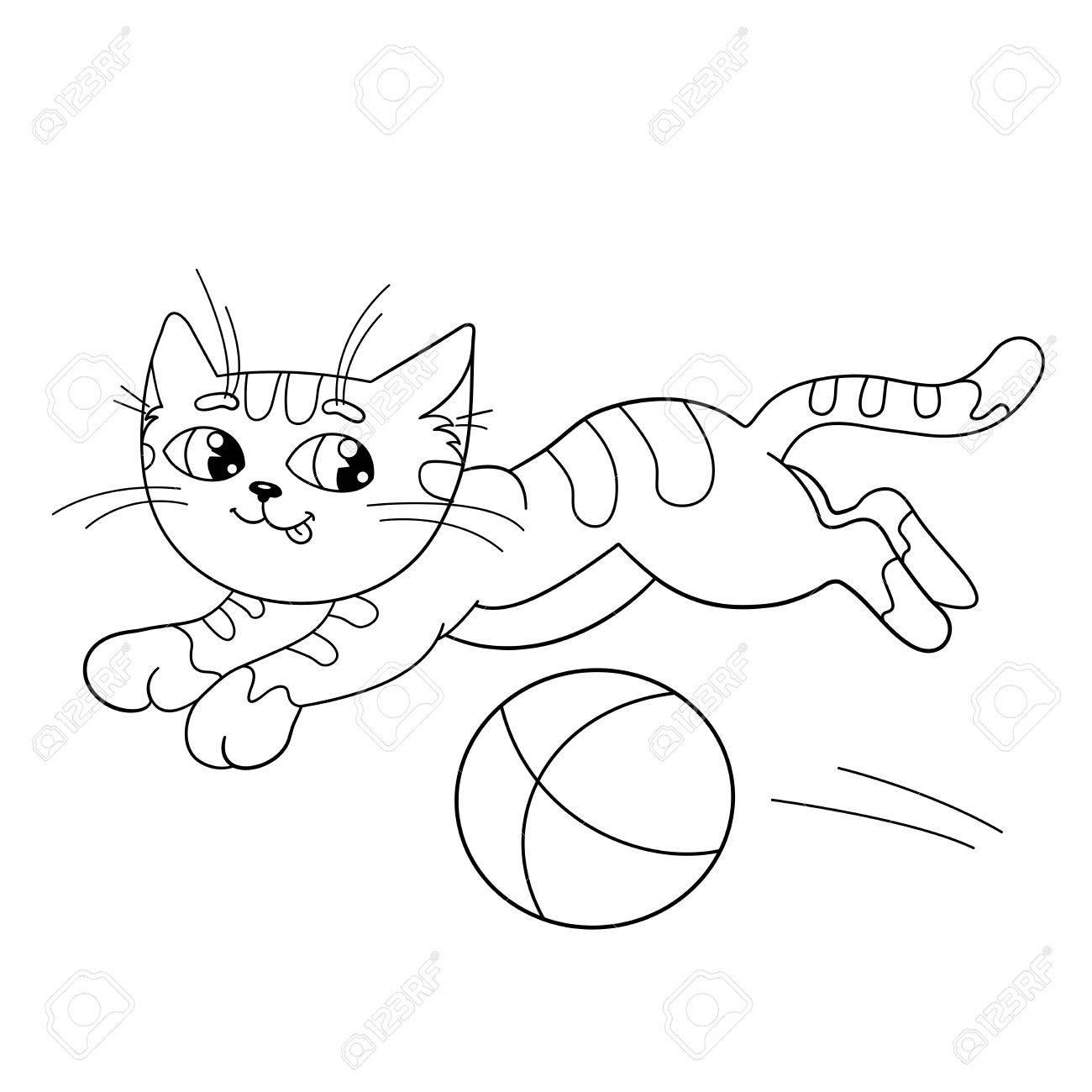 Página Para Colorear Esquema De Un Gato Esponjoso Jugando Con La