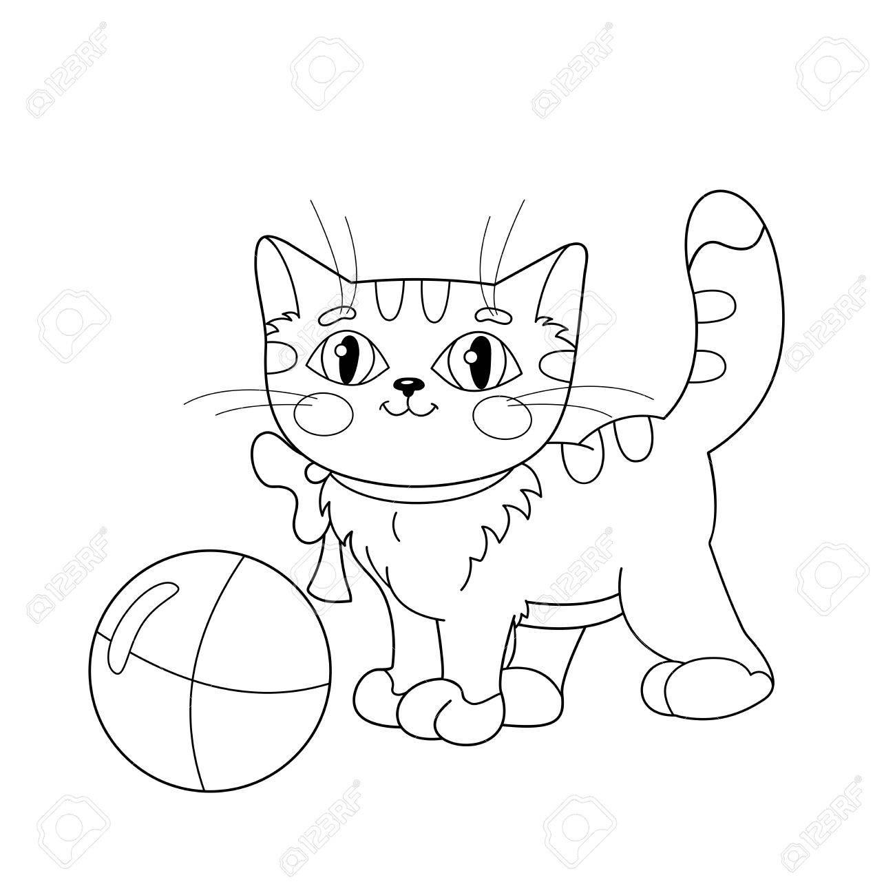 Malvorlagen Umriss Eines Flauschige Katze Mit Ball Spielen. Malbuch ...