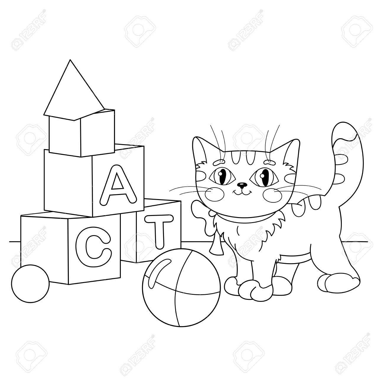 Página Para Colorear Esquema De Dibujos Animados Del Gato Jugando Con Juguetes Libro De Colorear Para Niños