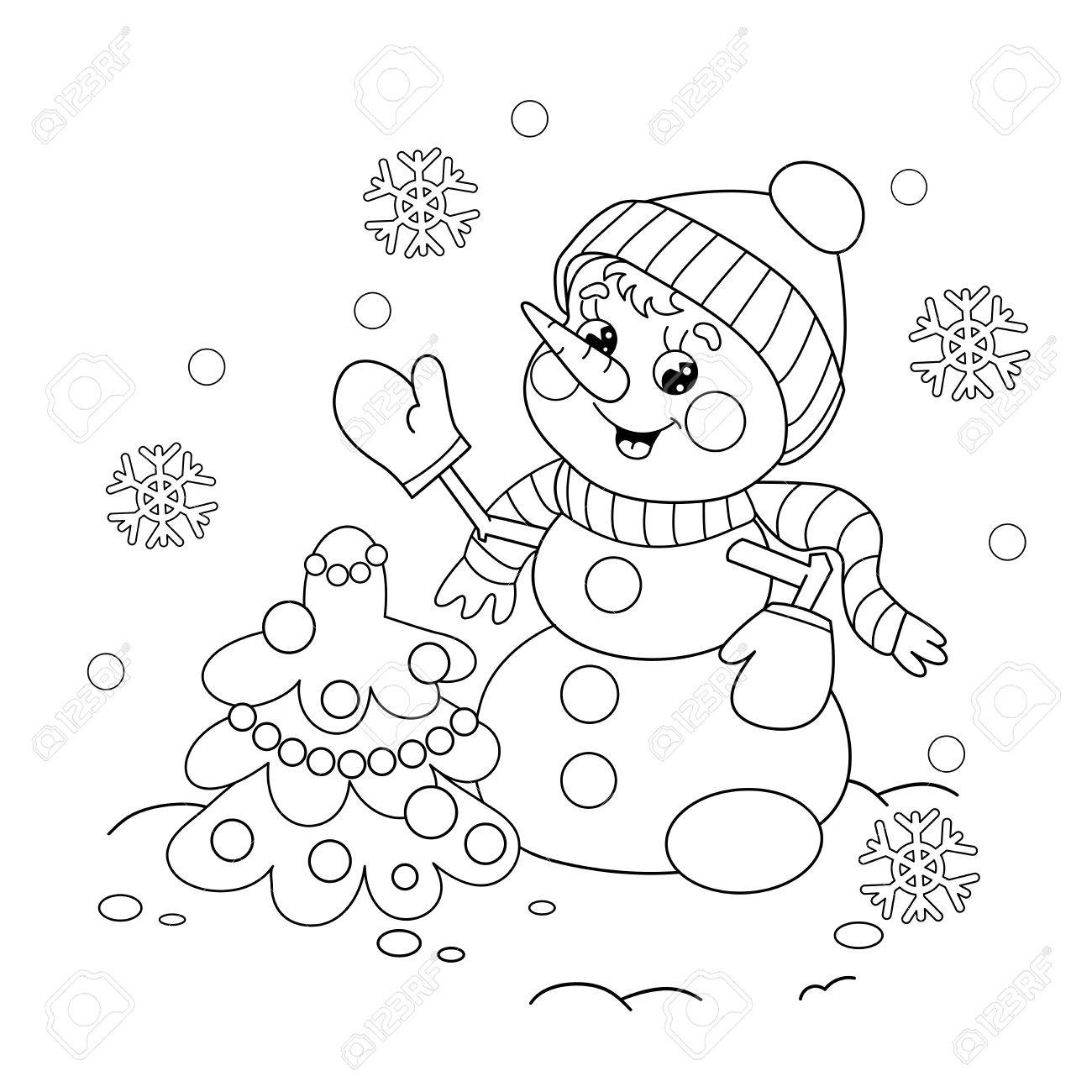 Coloring Page Outline Of Cartoon Snowman With Christmas Tree ...