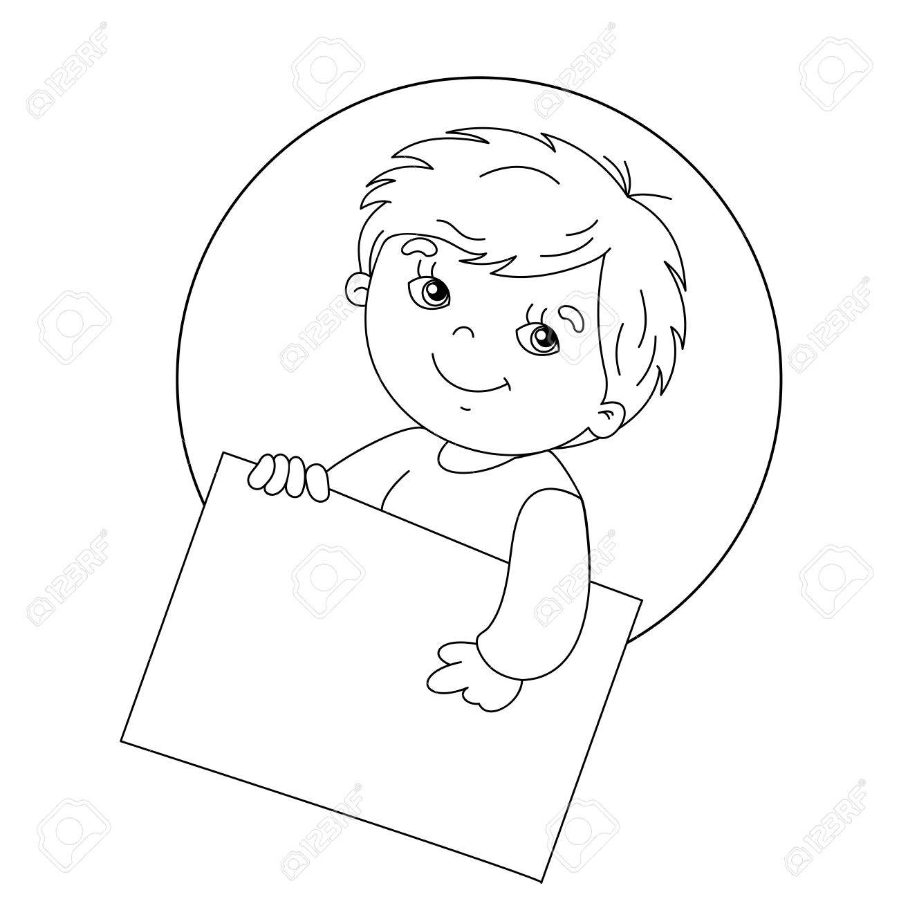 Coloring Page Outline Of Cute Boy Holding A Sign Stock Vector