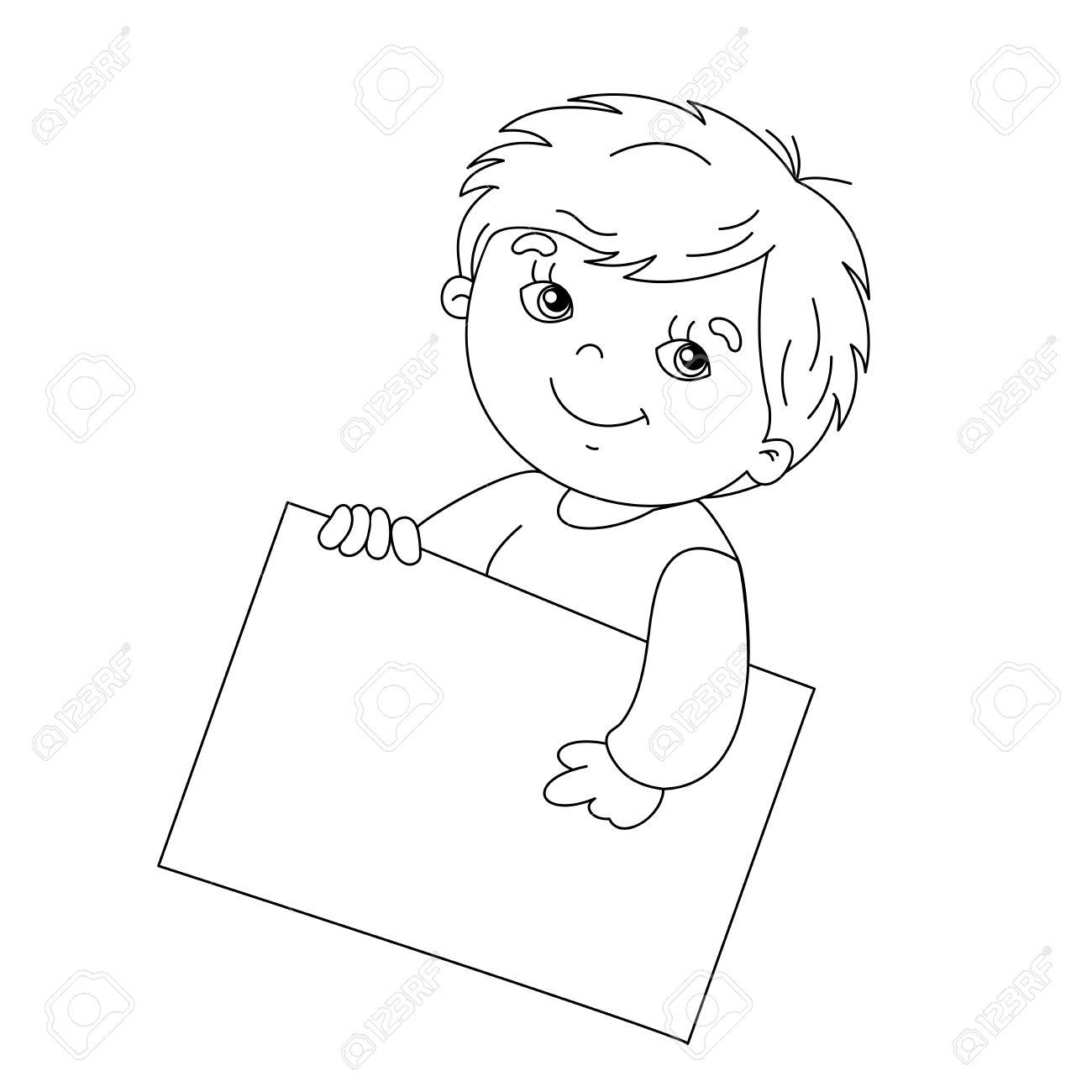 看板を持っているかわいい男の子のぬりえページ概要のイラスト素材